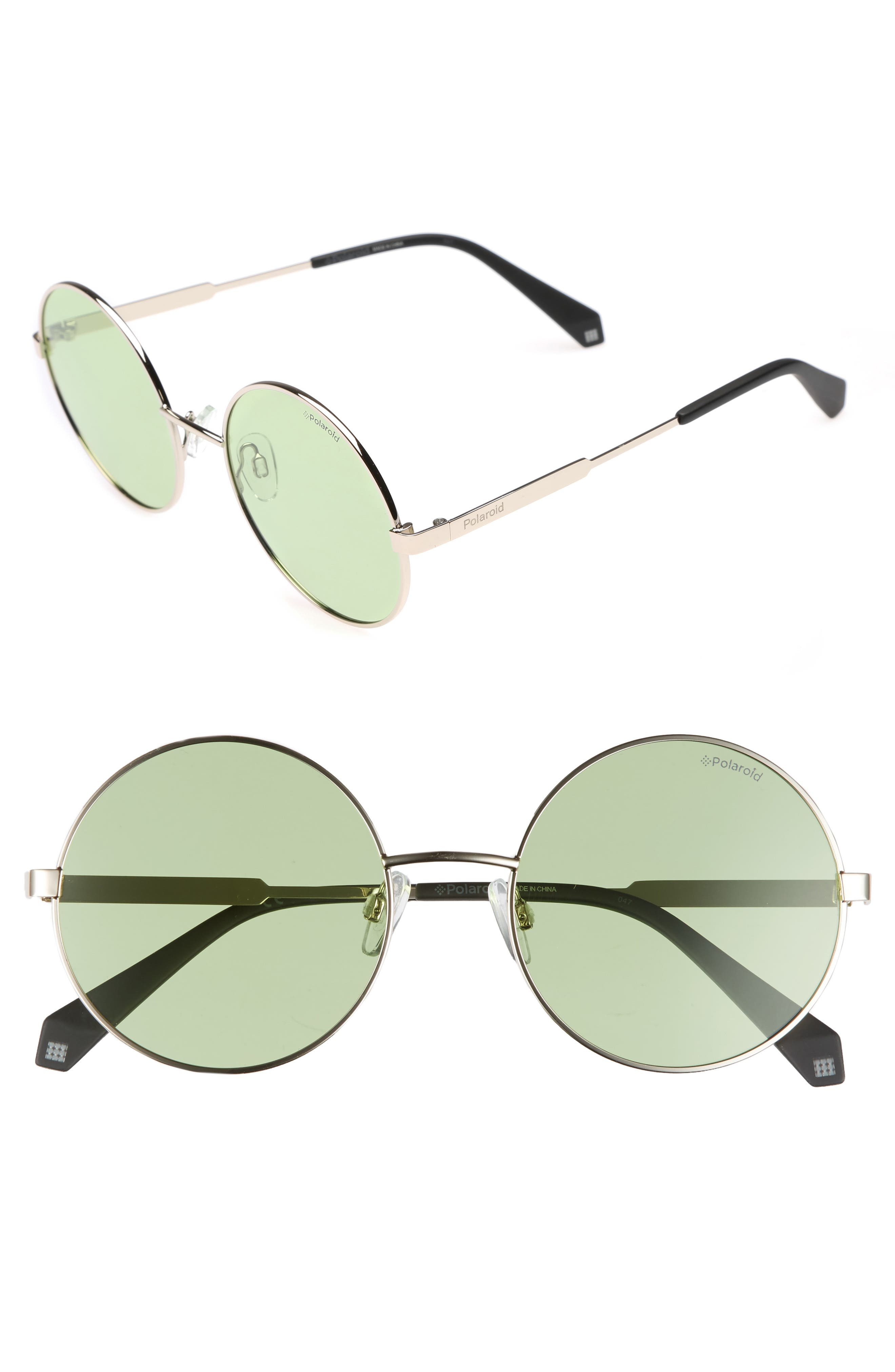 55mm Polarized Round Sunglasses,                             Main thumbnail 1, color,                             300