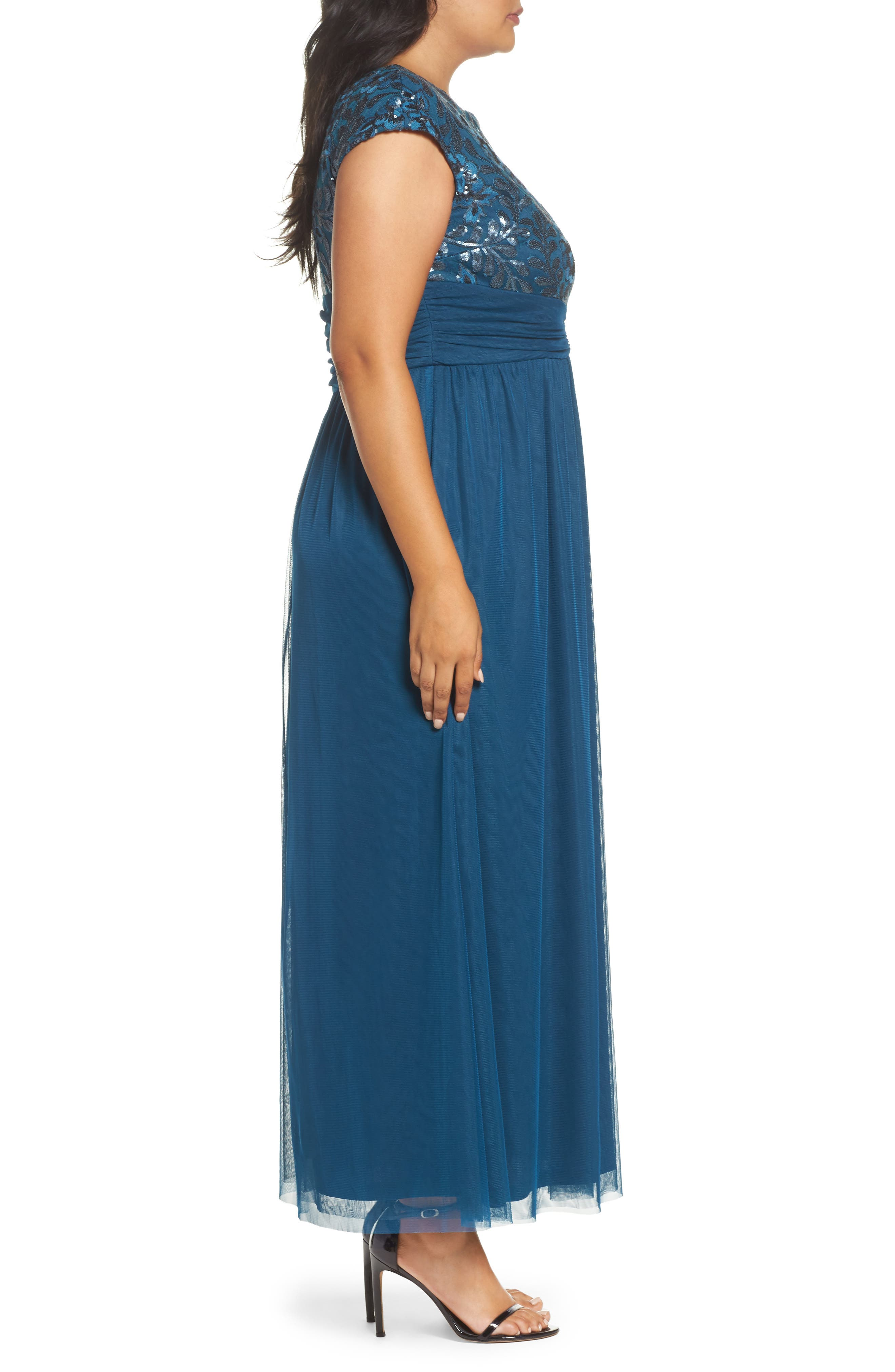 Embellished Cap Sleeve Gown,                             Alternate thumbnail 3, color,                             TEAL