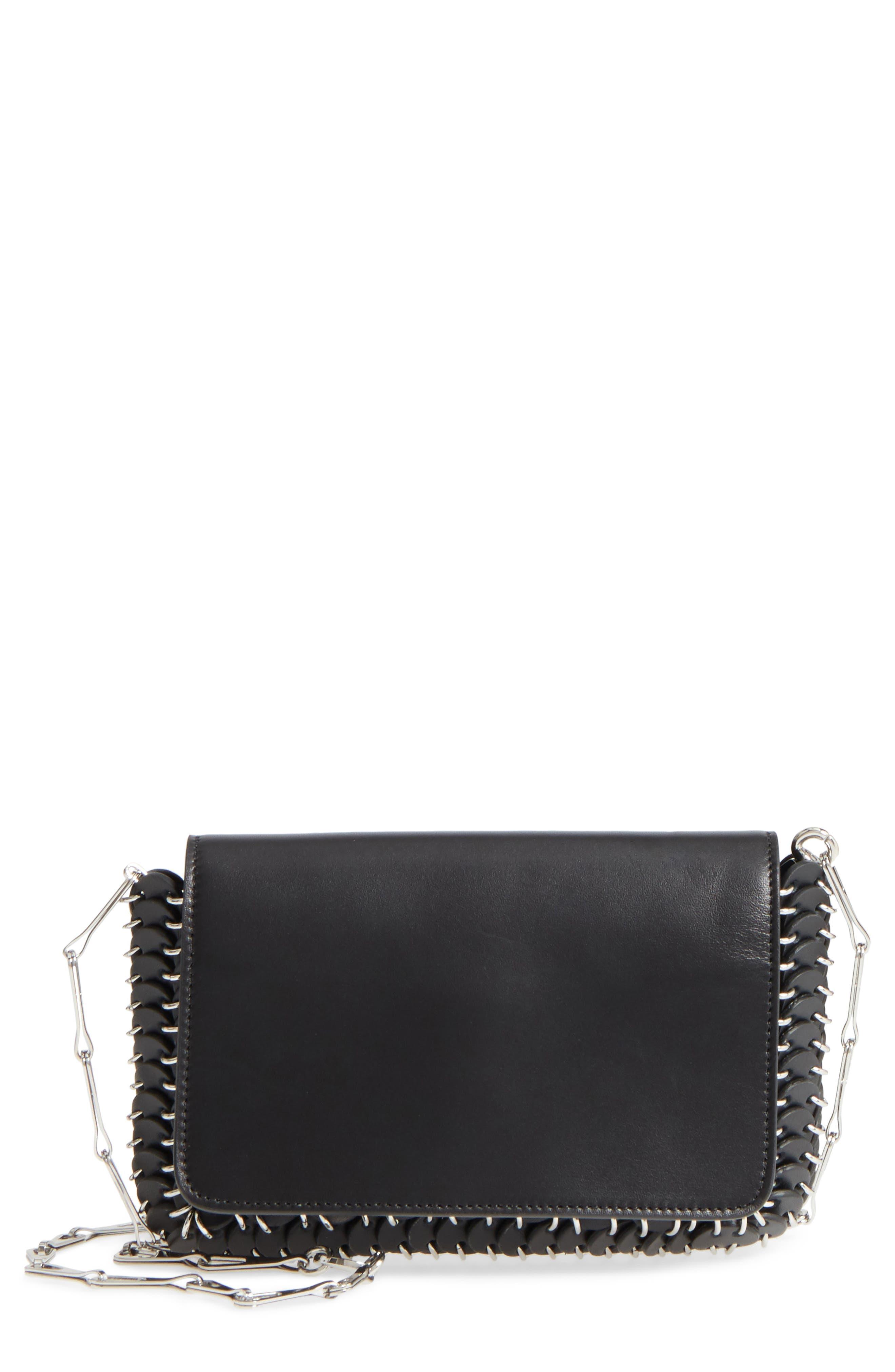 Mini Calfskin Shoulder Bag,                             Main thumbnail 1, color,                             BLACK