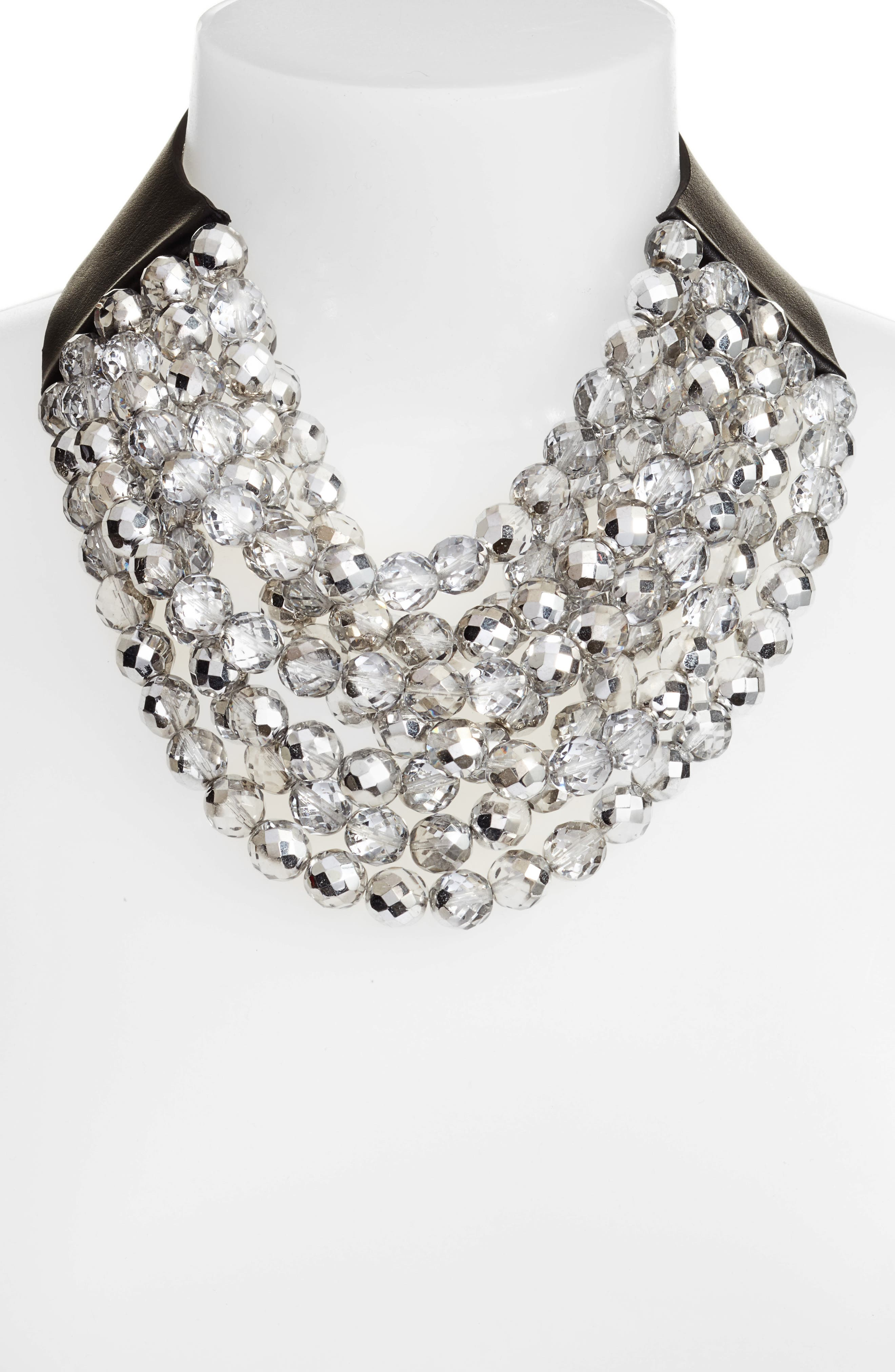 Bella Beaded Collar Necklace,                             Alternate thumbnail 2, color,                             HOLIDAY CRYSTAL SILVER