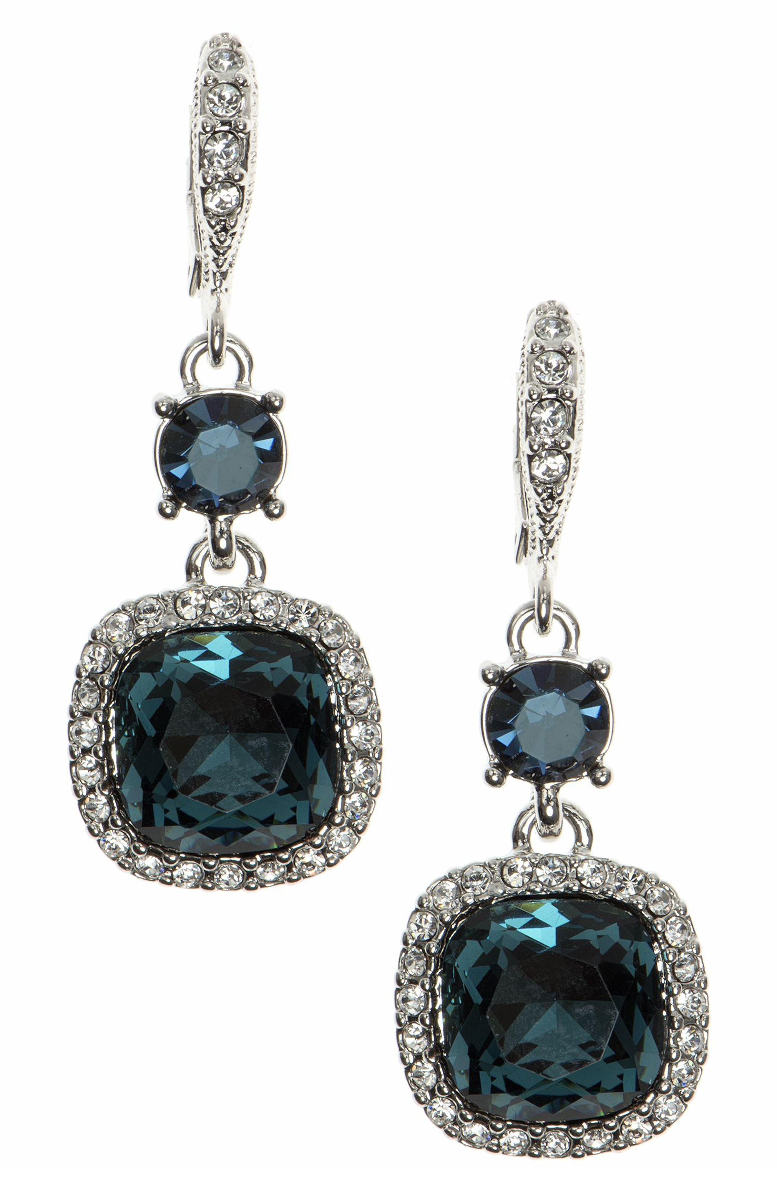 Crystal Drop Earrings,                             Main thumbnail 1, color,                             BLUE / SILVER