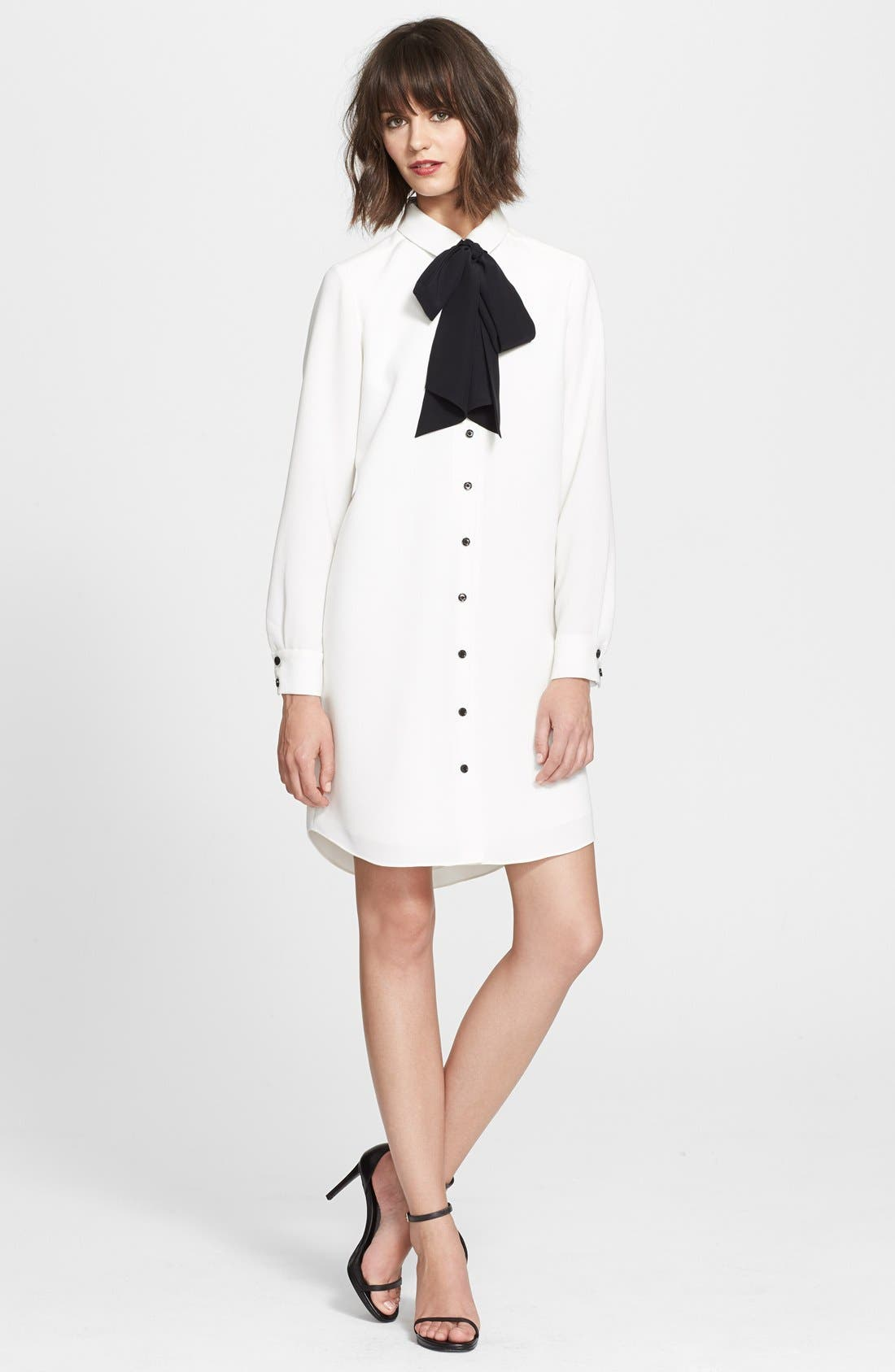 'griffin' silk tie shirtdress, Main, color, 900