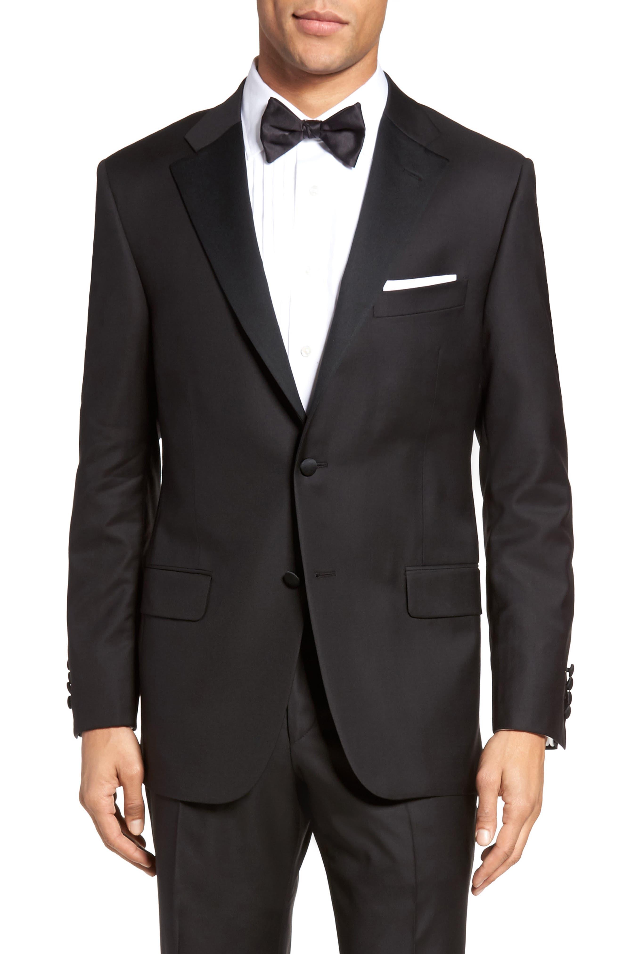 Classic B Fit Wool Tuxedo,                             Alternate thumbnail 5, color,                             BLACK