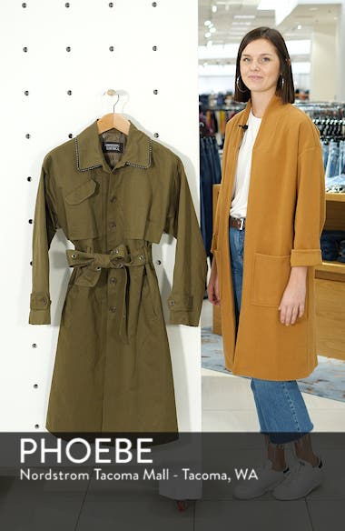 Badgley Mischka Cotton Blend Utility Trench Coat, sales video thumbnail