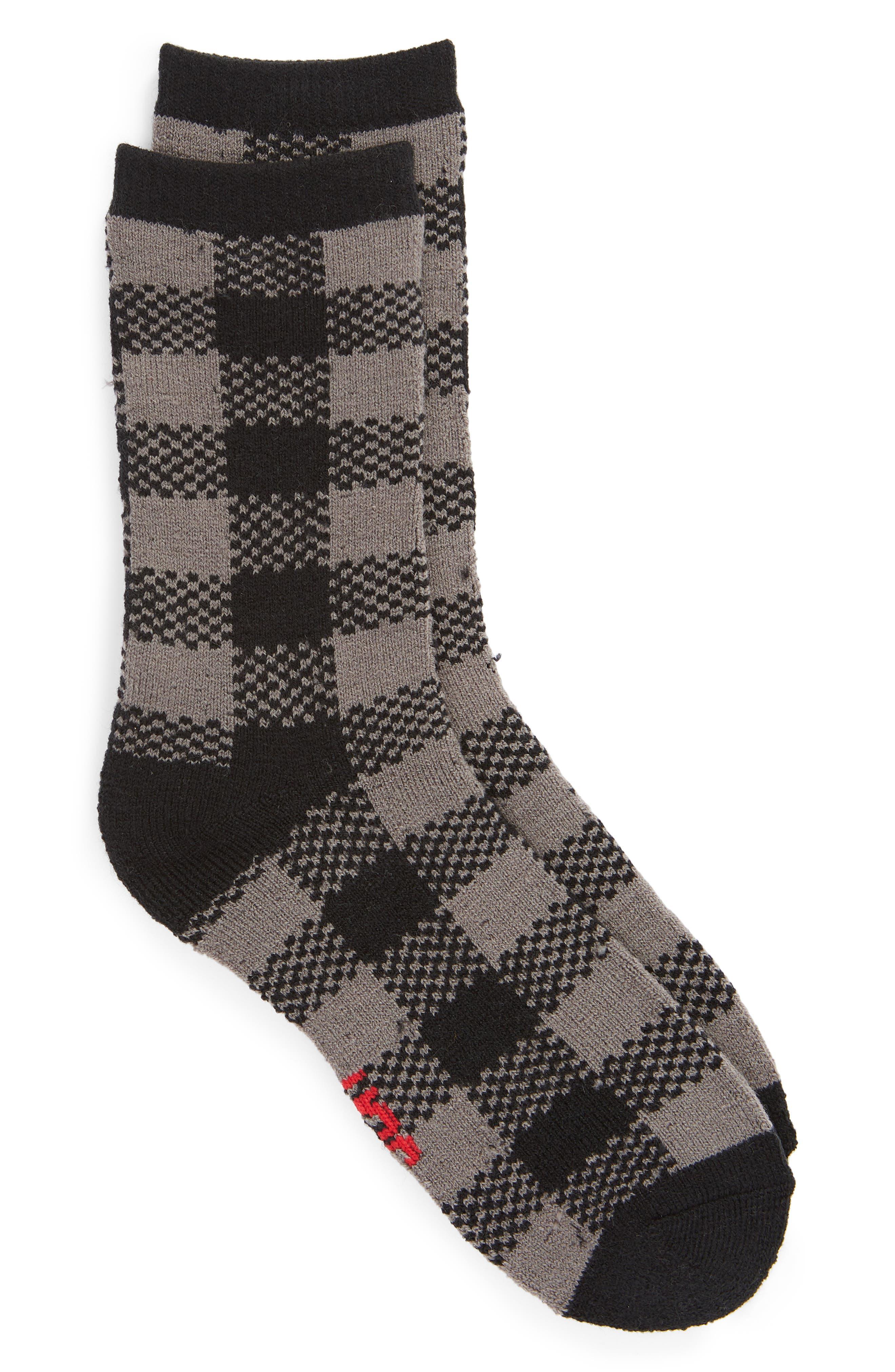 Randall Check Crew Socks,                             Main thumbnail 1, color,                             BLACK