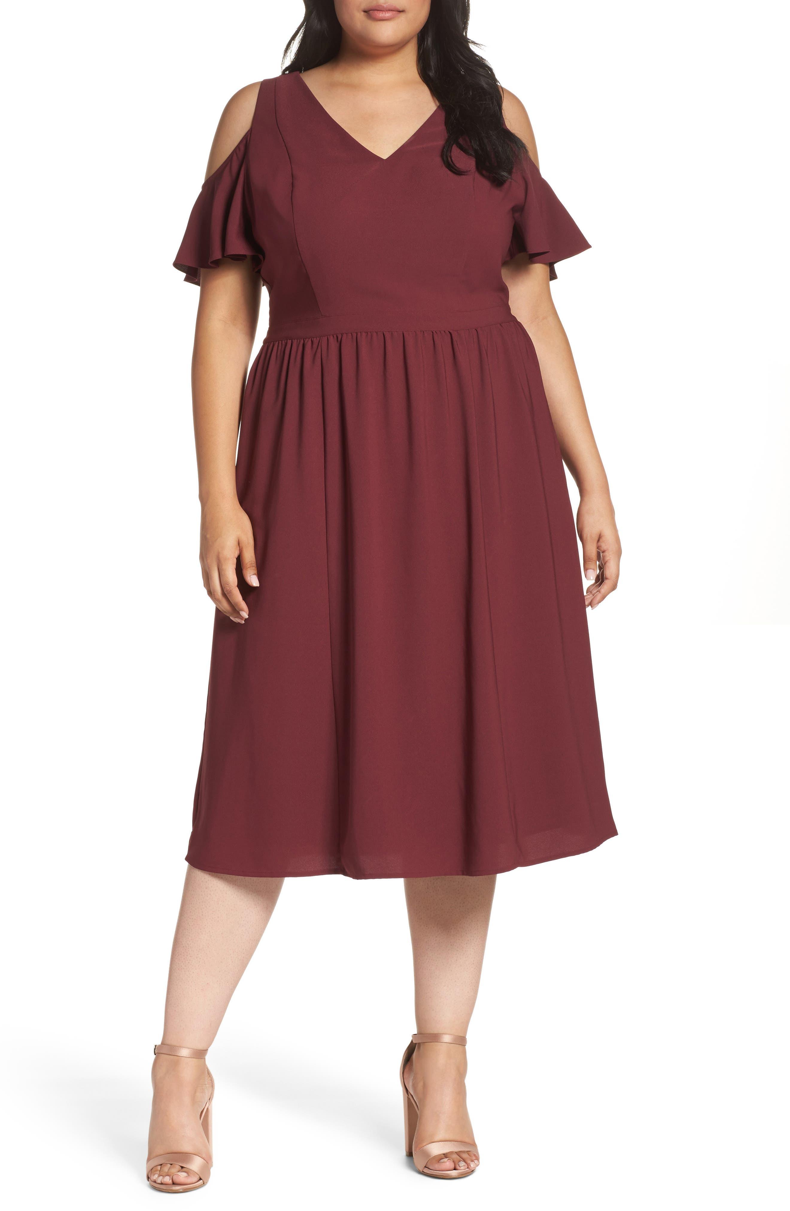 Cold Shoulder Midi Dress,                             Main thumbnail 1, color,                             930
