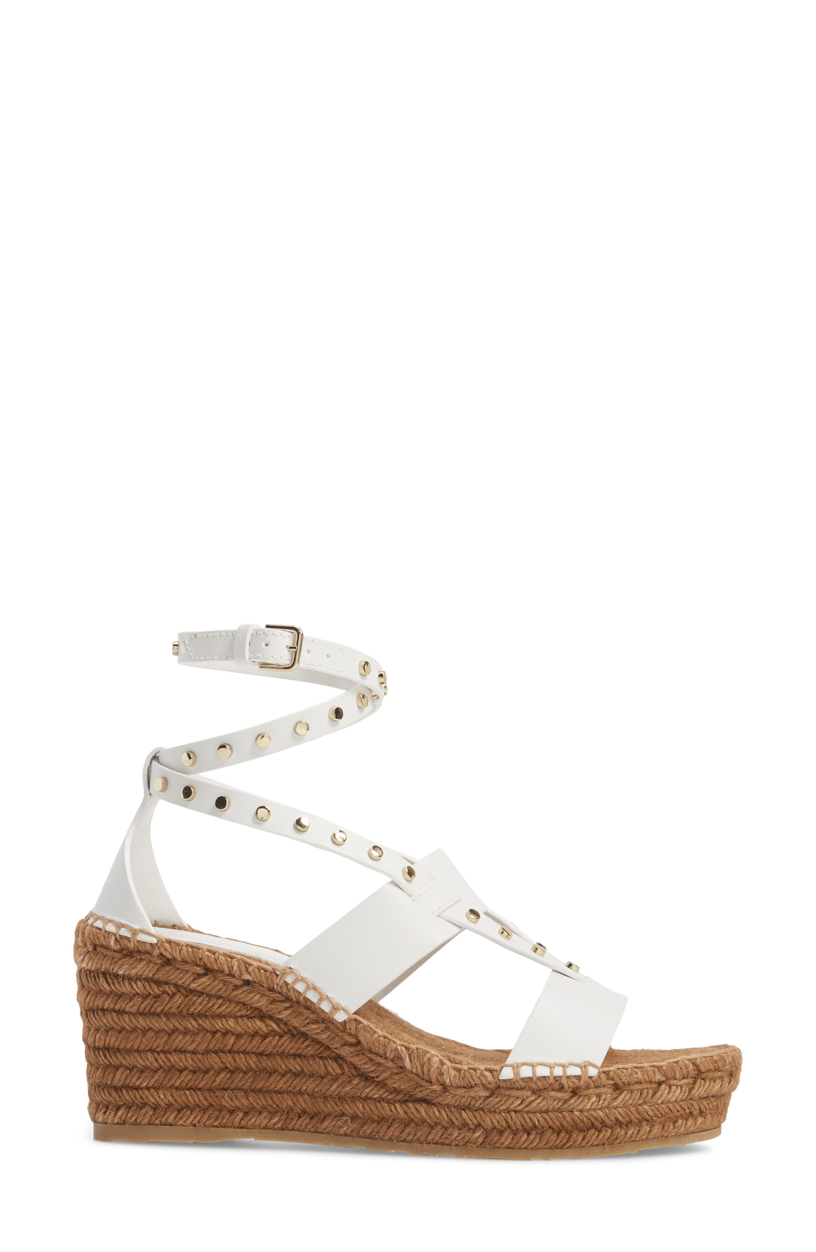 Danica Studded Wedge Espadrille,                             Alternate thumbnail 3, color,                             WHITE
