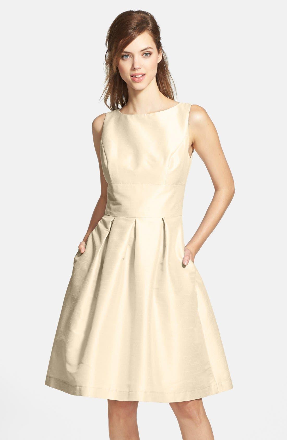 Dupioni Fit & Flare Dress,                             Main thumbnail 6, color,