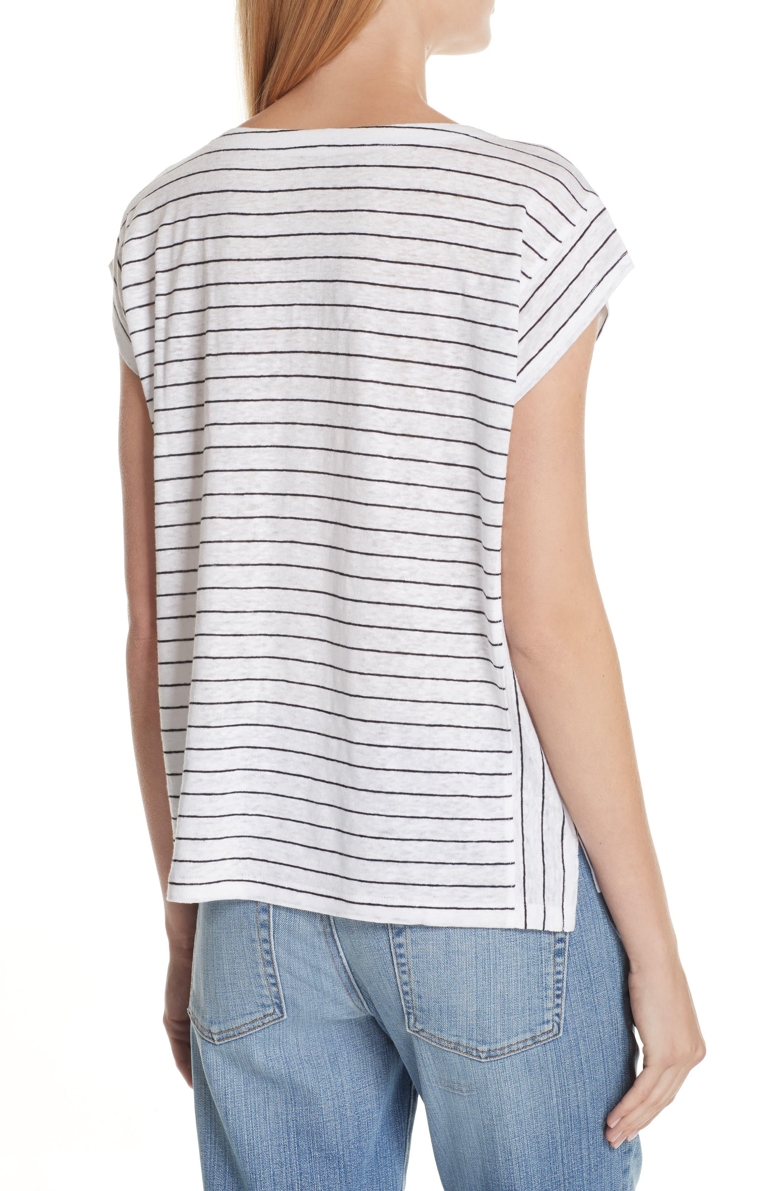Stripe Organic Linen Top,                             Alternate thumbnail 2, color,                             120