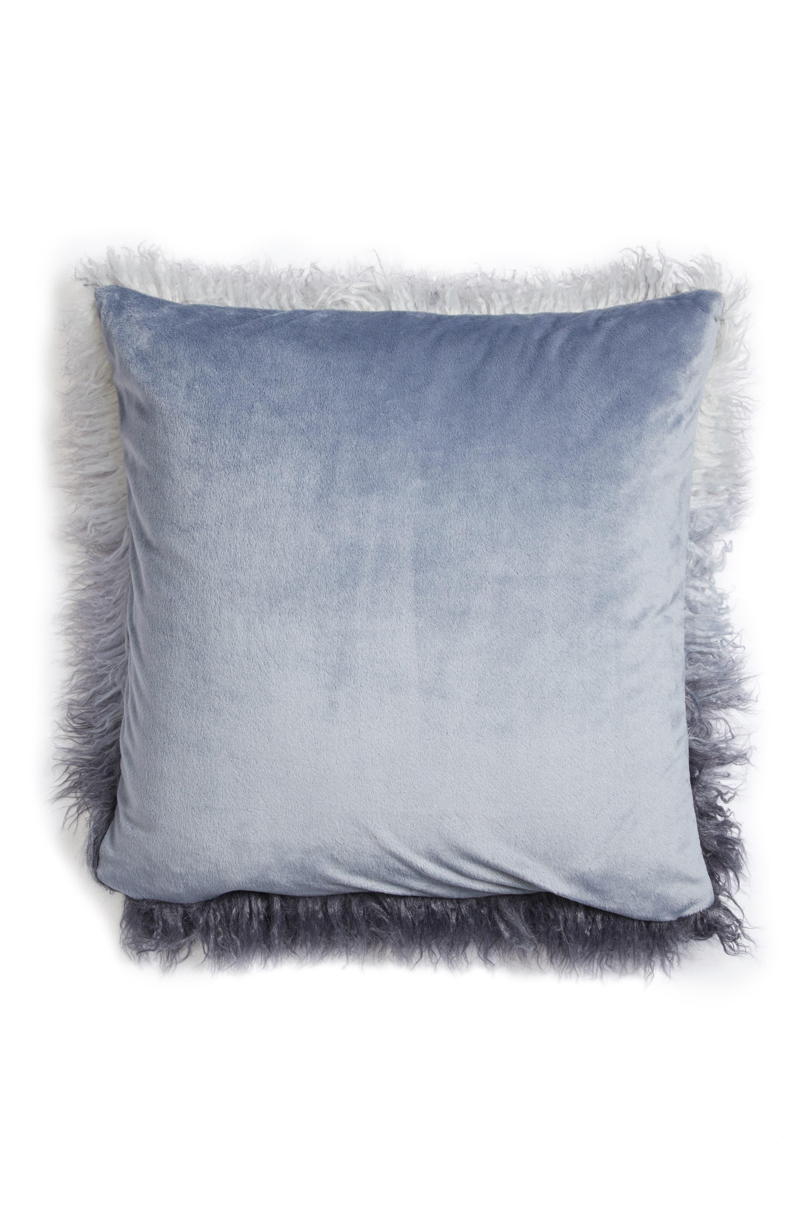 Ombré Faux Fur Flokati Accent Pillow,                             Alternate thumbnail 8, color,