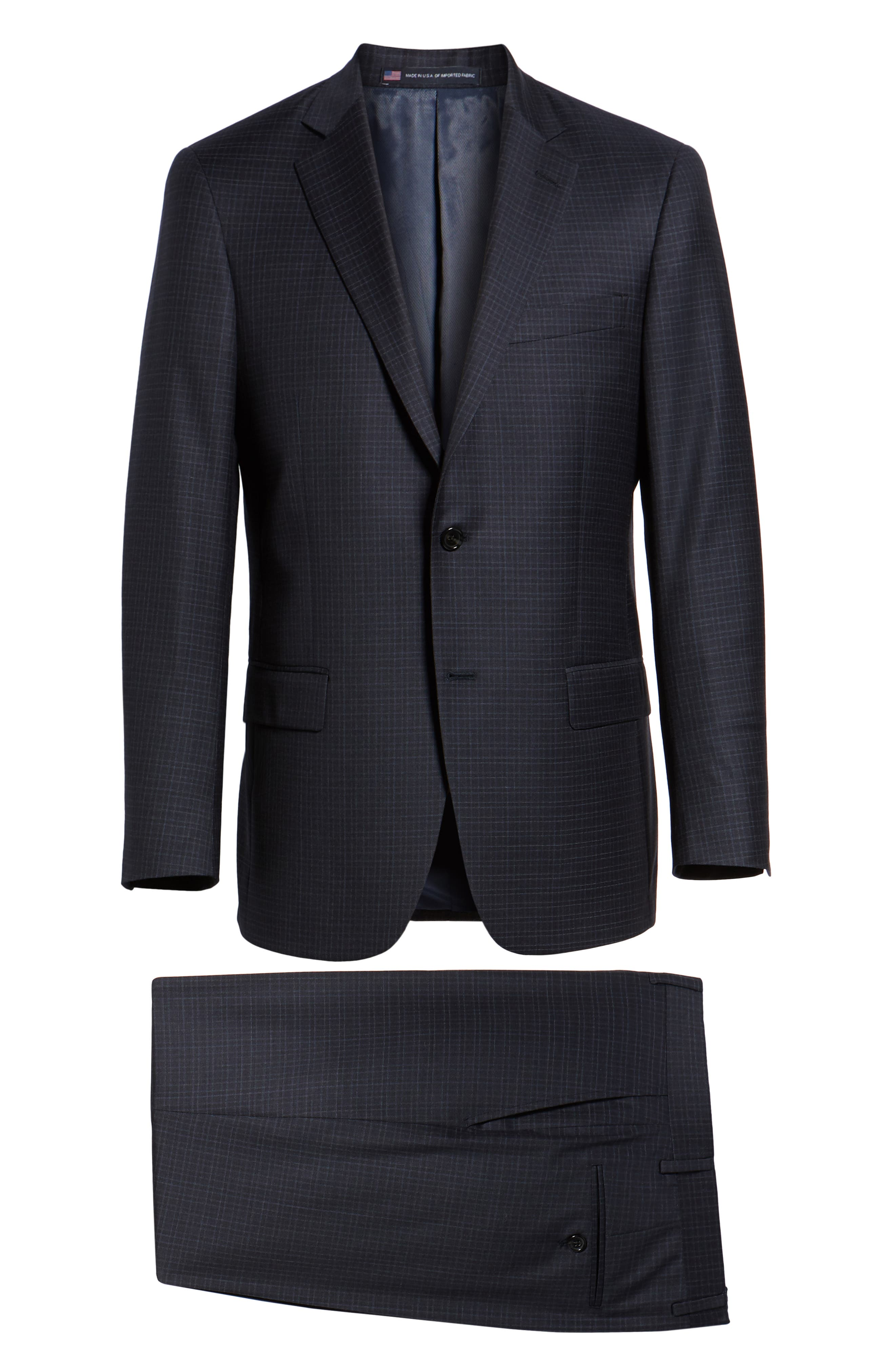 New York Classic Fit Check Wool Suit,                             Alternate thumbnail 8, color,                             NAVY