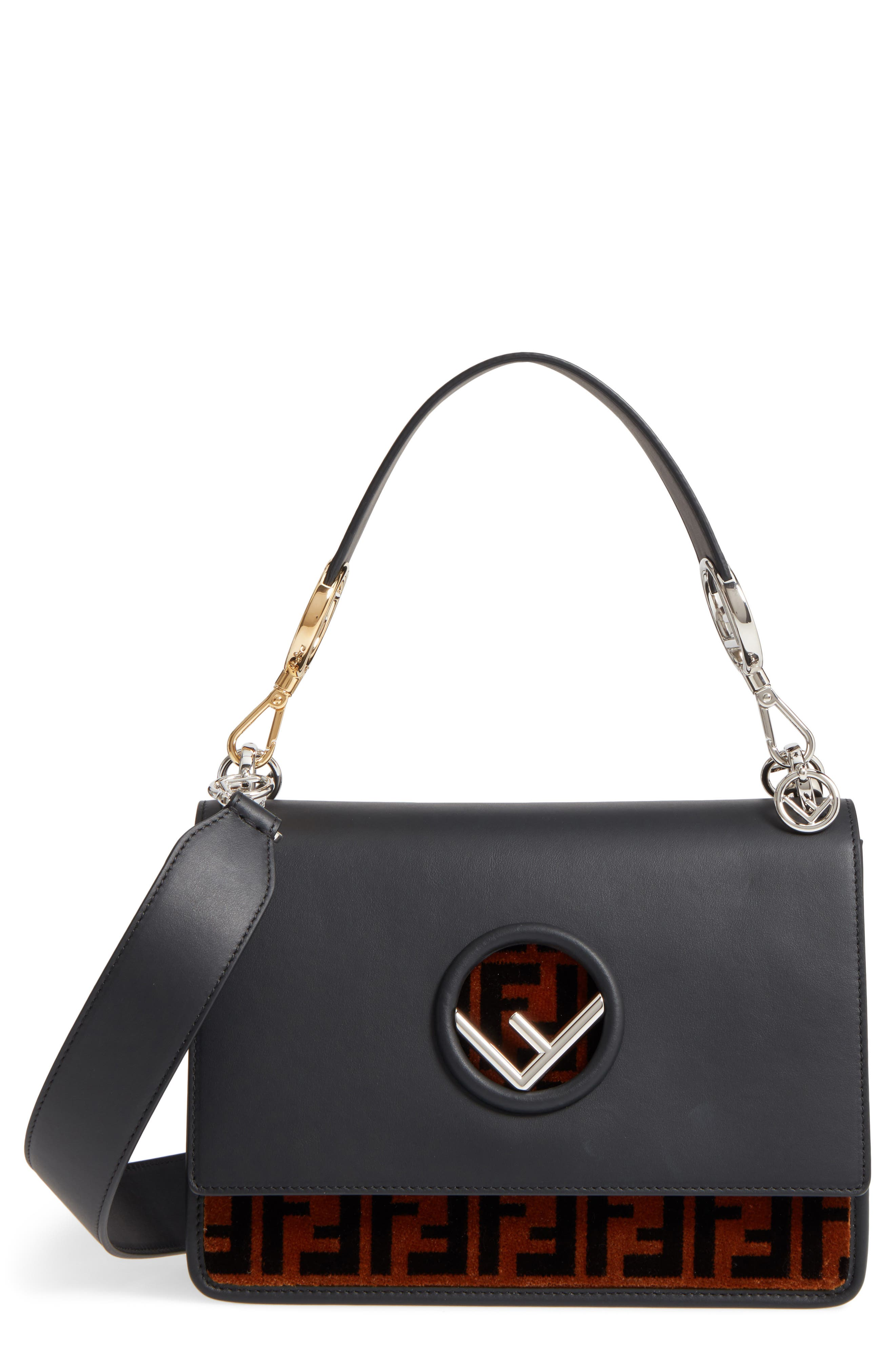 FENDI,                             Kan I Logo Tappetino Leather & Velvet Shoulder Bag,                             Main thumbnail 1, color,                             067