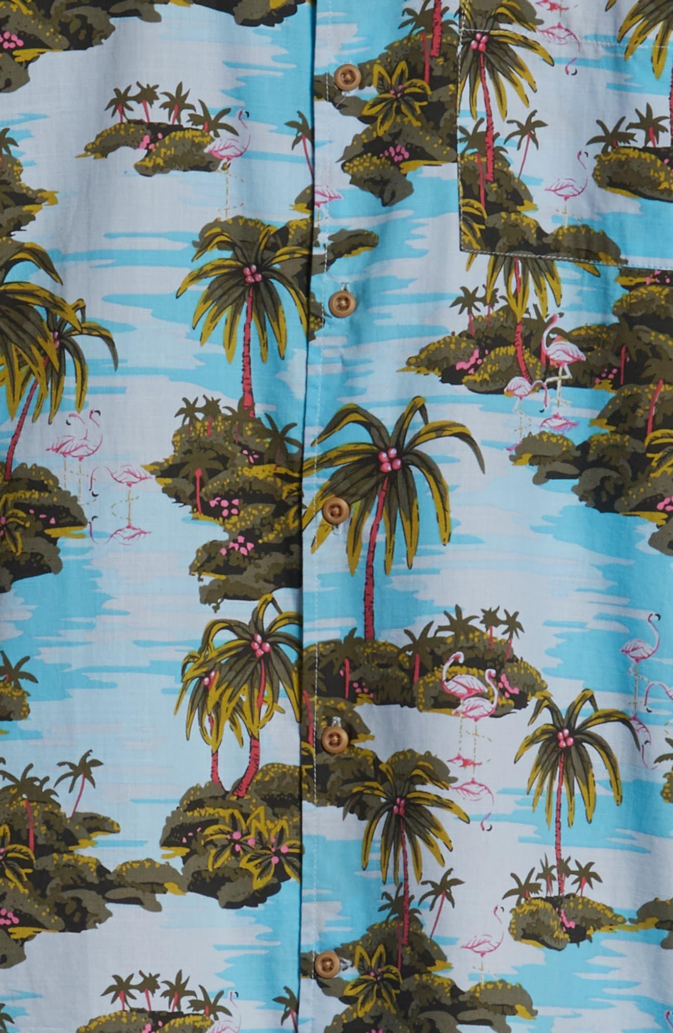Garage Palm Tree Woven Shirt,                             Alternate thumbnail 6, color,                             OCEAN BLISS