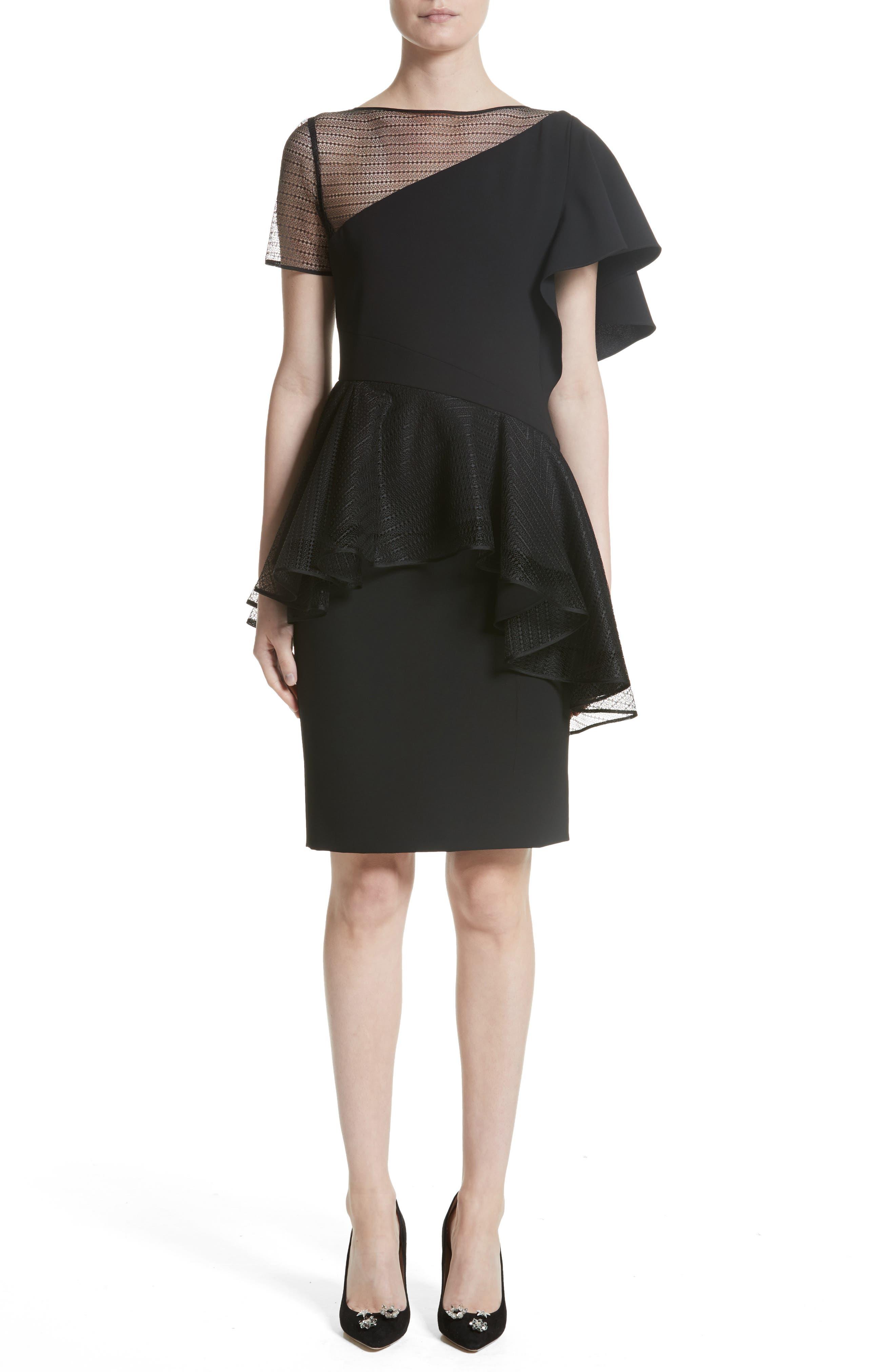 Ruffle Peplum Lace & Jersey Sheath Dress,                             Main thumbnail 1, color,                             001