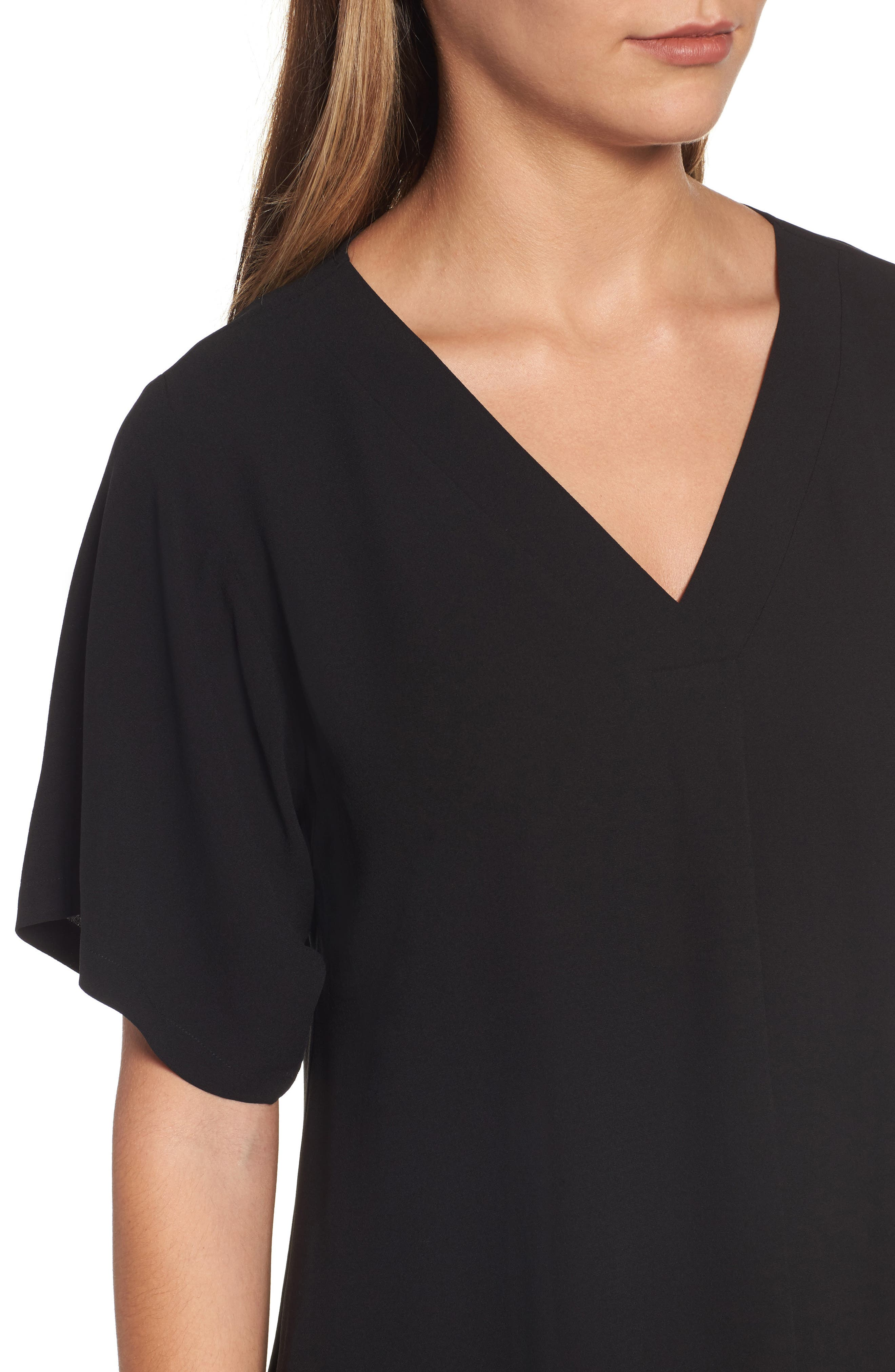 Silk V-Neck Top,                             Alternate thumbnail 4, color,                             001