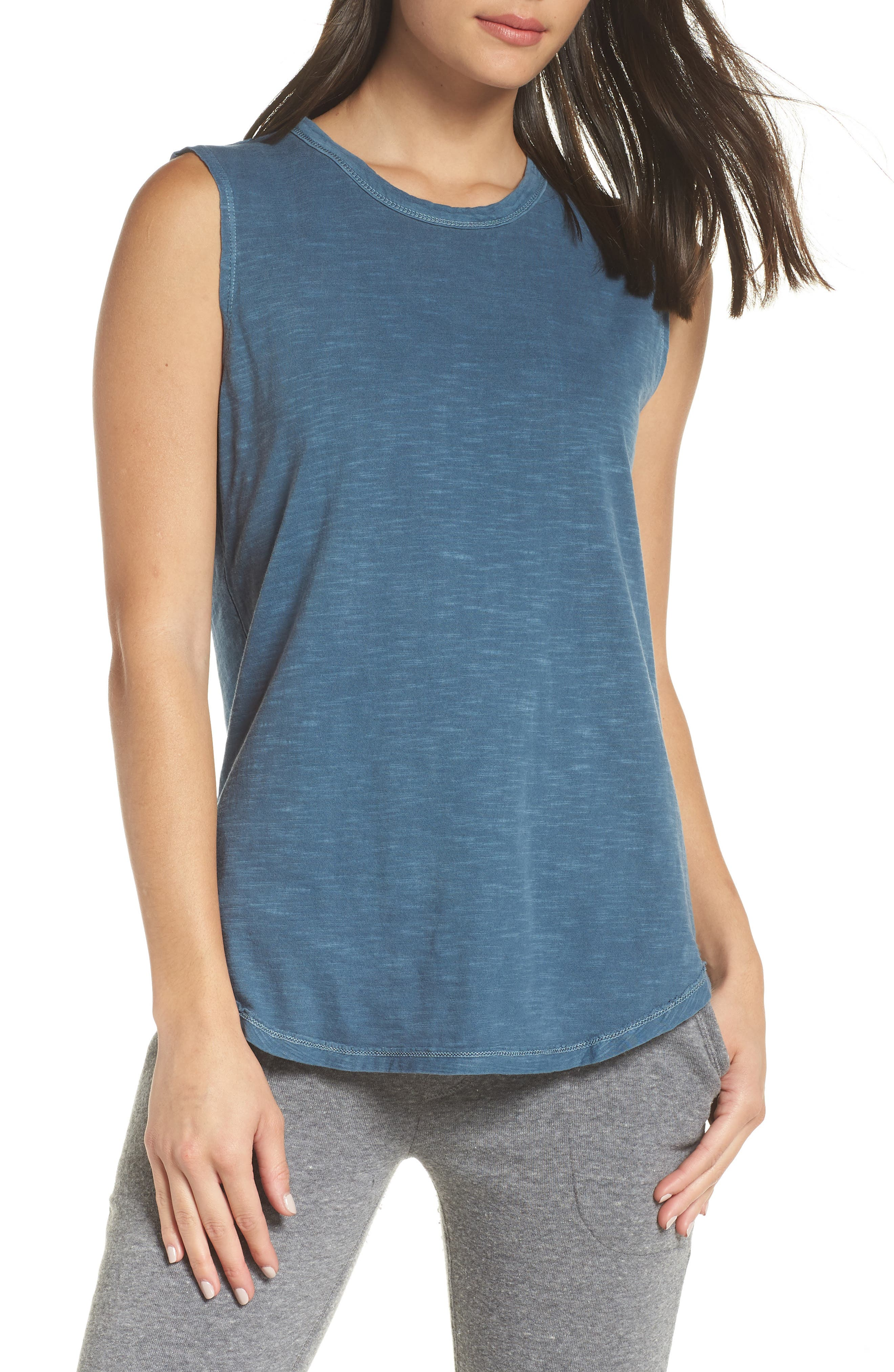 Inside Out Muscle Tee,                             Main thumbnail 1, color,                             MINERAL BLUE PIGMENT