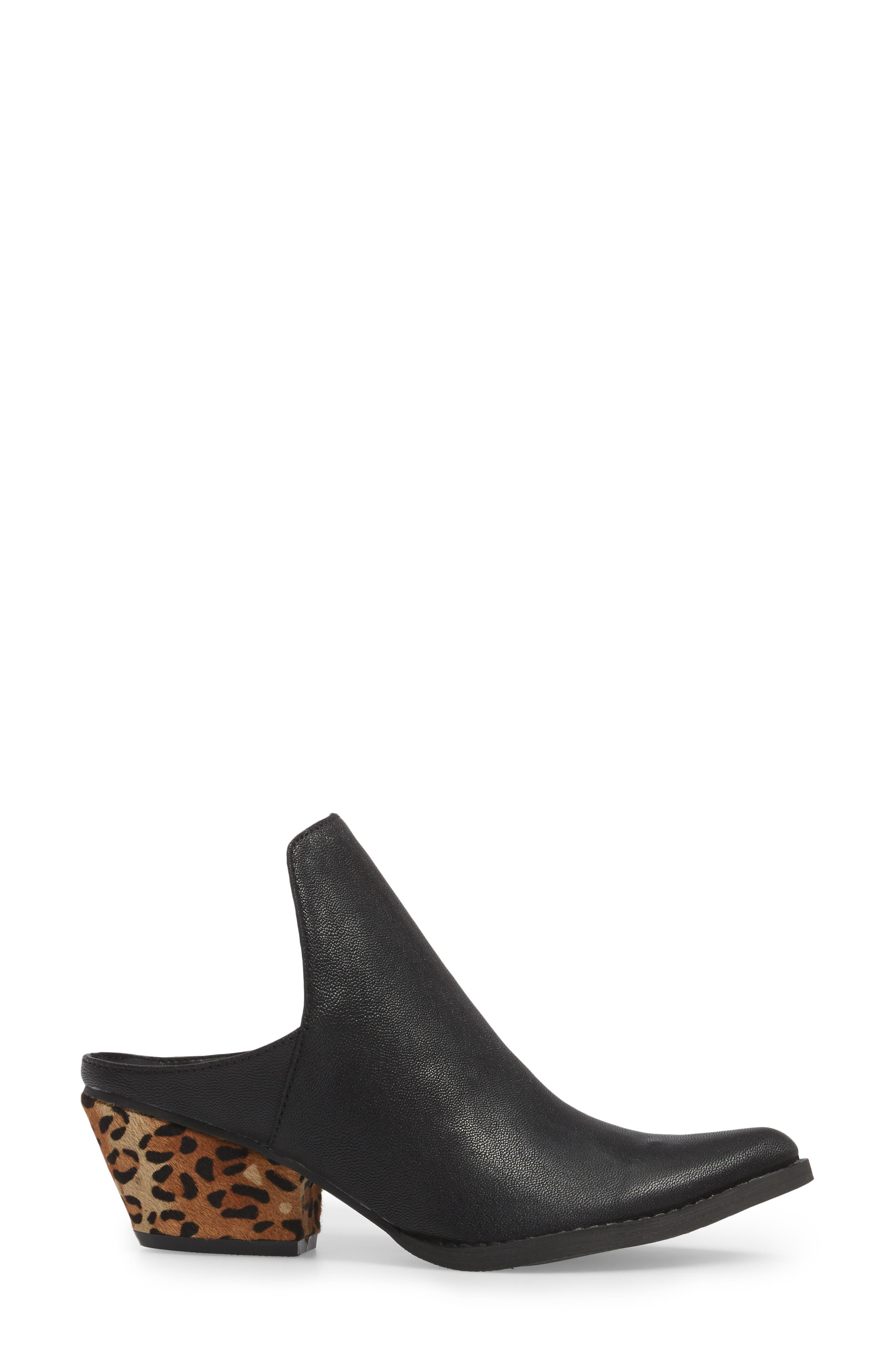Chicas Genuine Calf Hair & Leather Mule,                             Alternate thumbnail 3, color,                             001