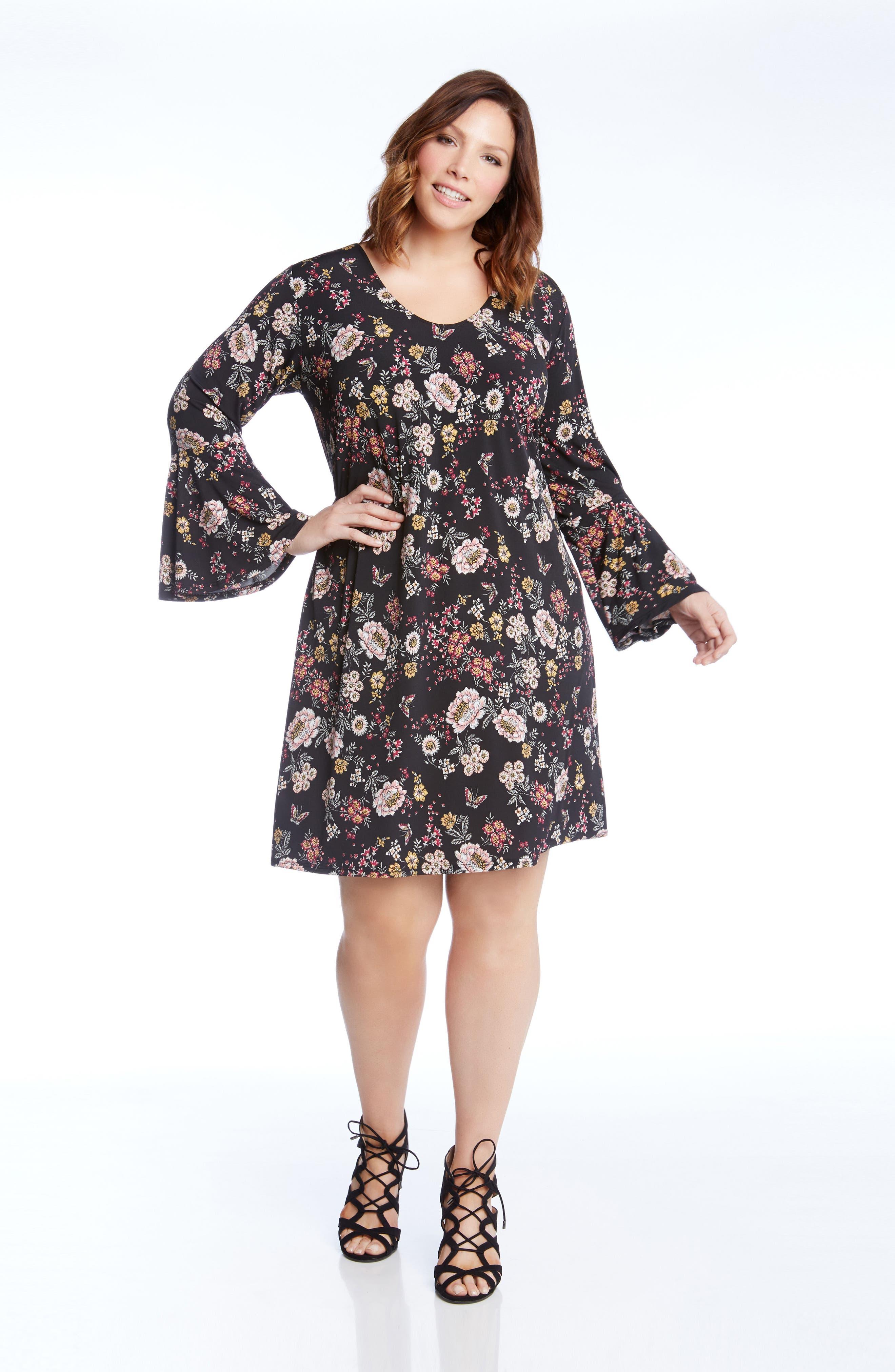 Taylor Floral A-Line Dress,                             Alternate thumbnail 3, color,                             663