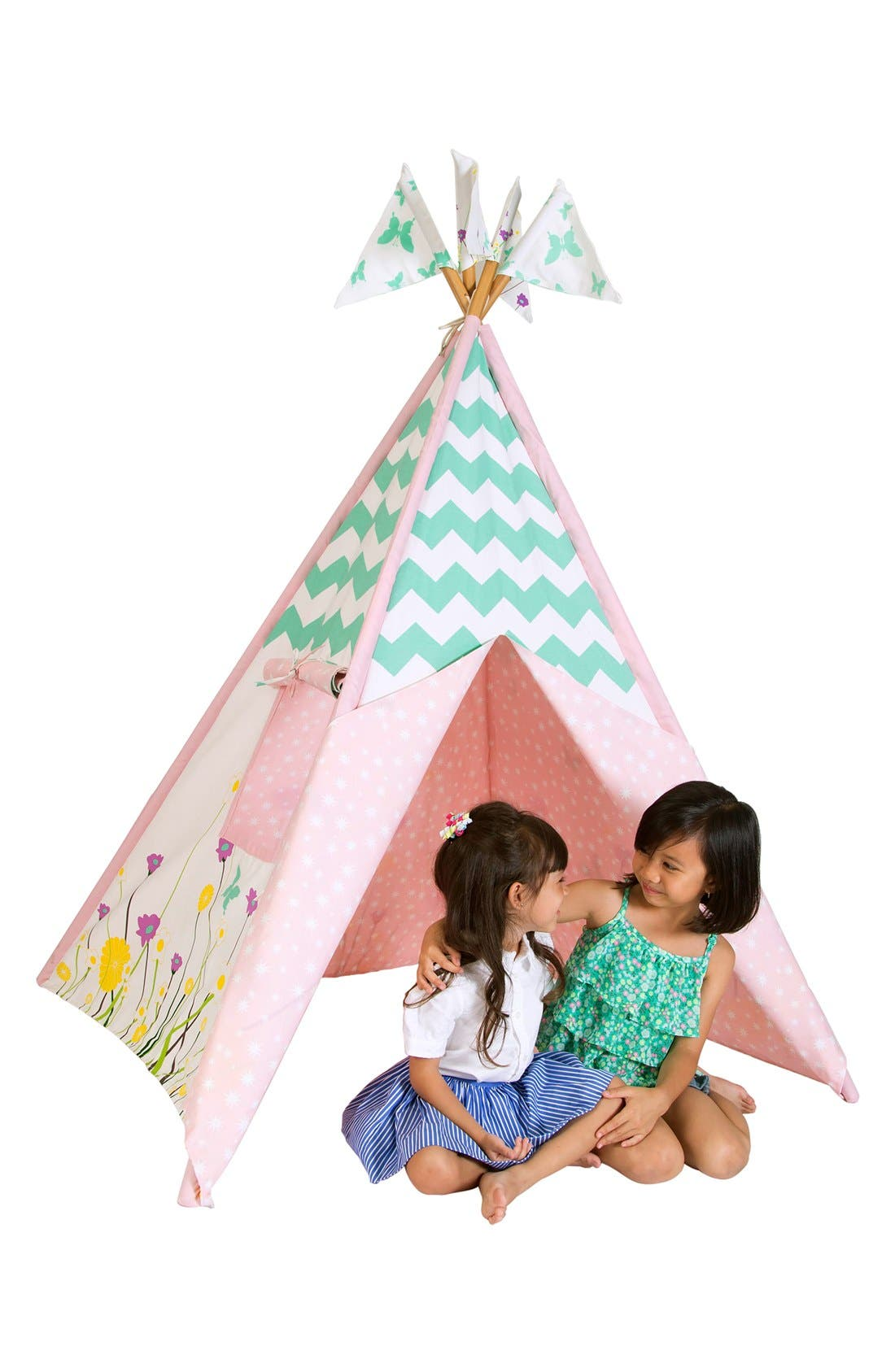 'Wildflowers' Cotton Canvas Teepee,                             Alternate thumbnail 3, color,                             BEIGE