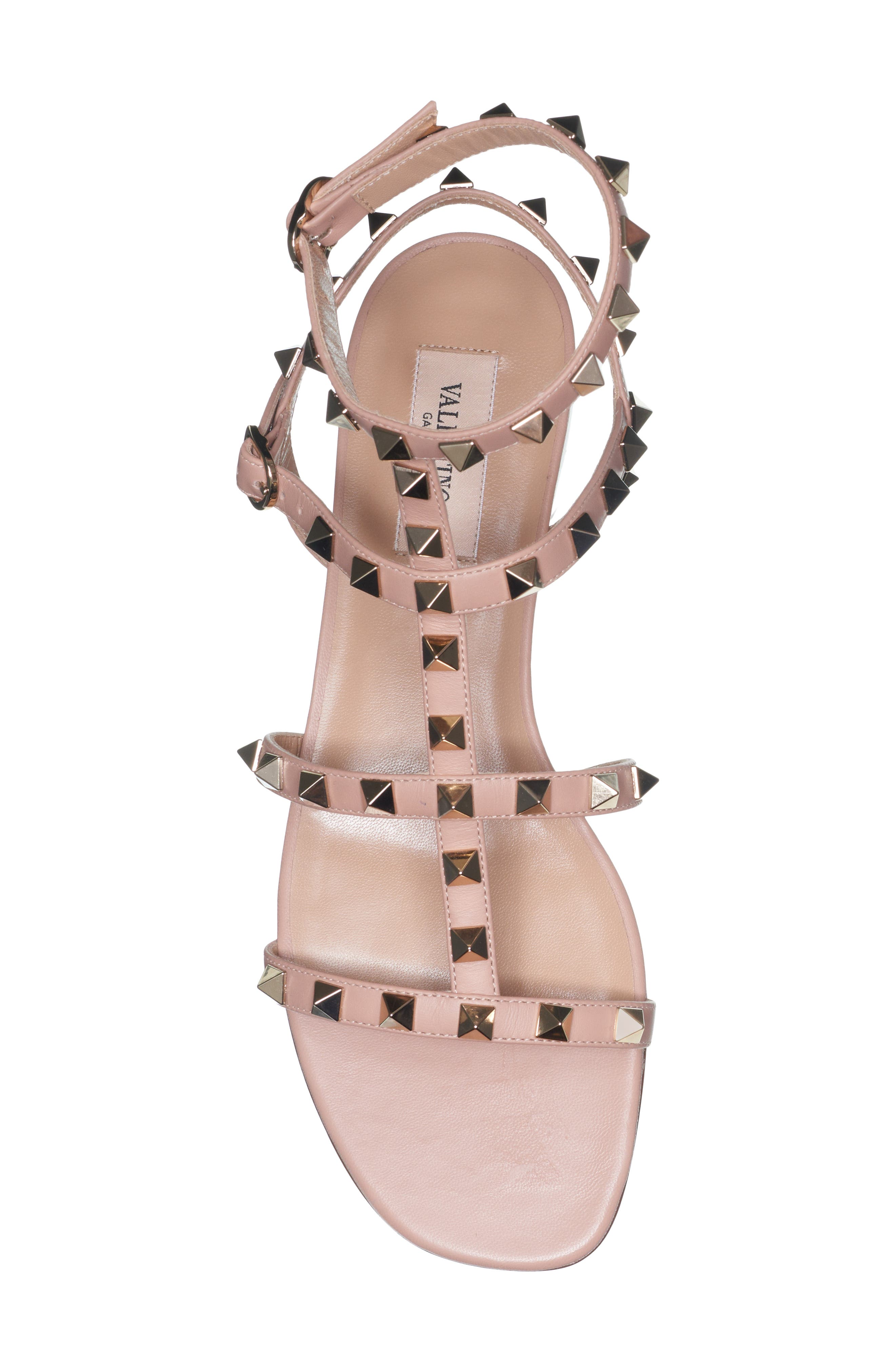 Rockstud Cage Sandal,                             Alternate thumbnail 4, color,                             ROSE BEIGE