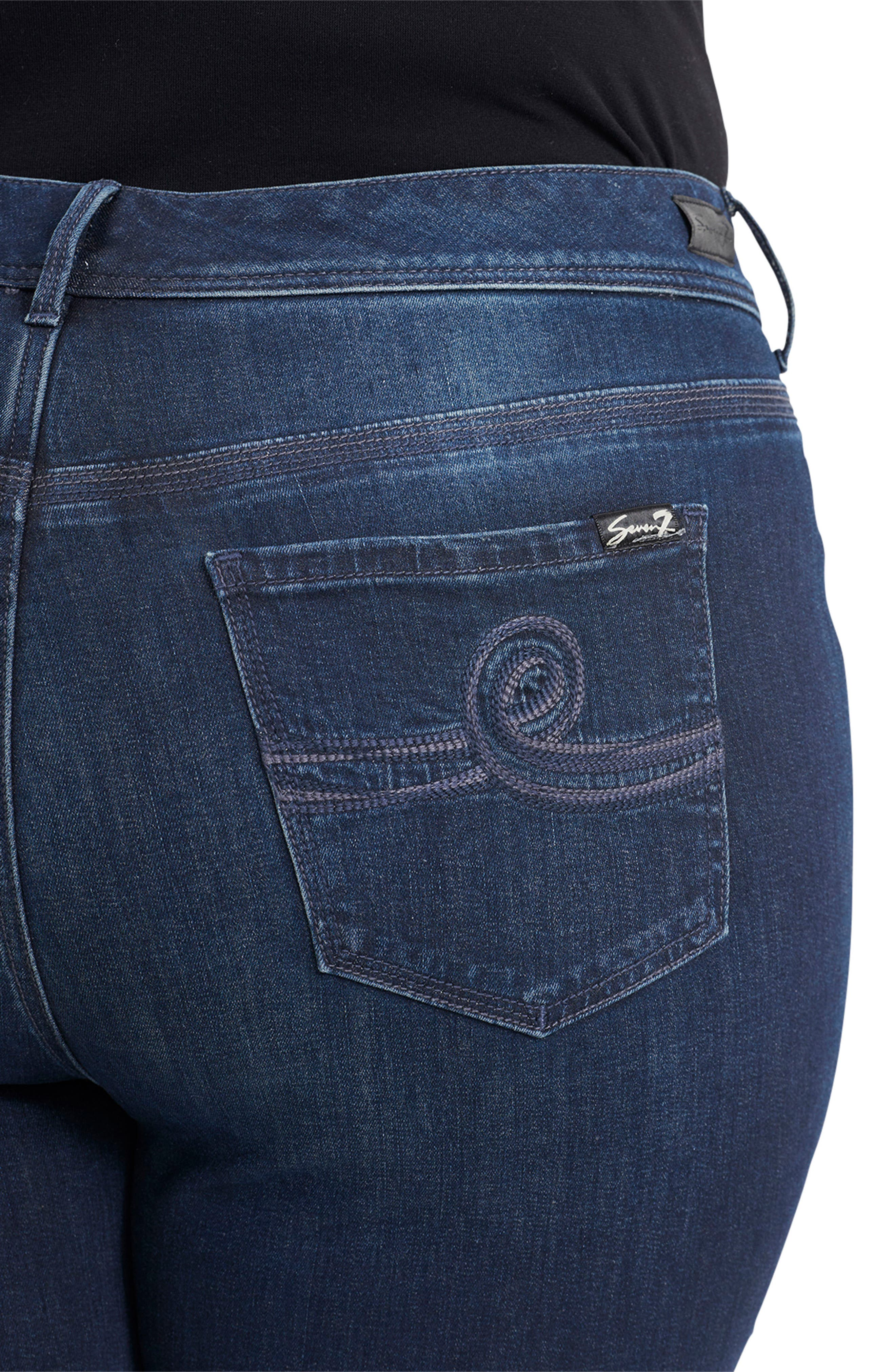 Tummyless High Rise Roll Cuff Slim Fit Jeans,                             Alternate thumbnail 4, color,                             TWAIN