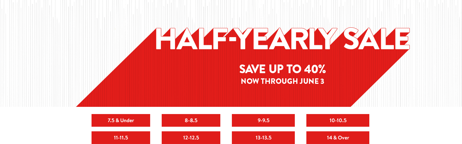 Half-Yearly Sale. Save up to 40% through June 3. Shop men's sale shoes by size.