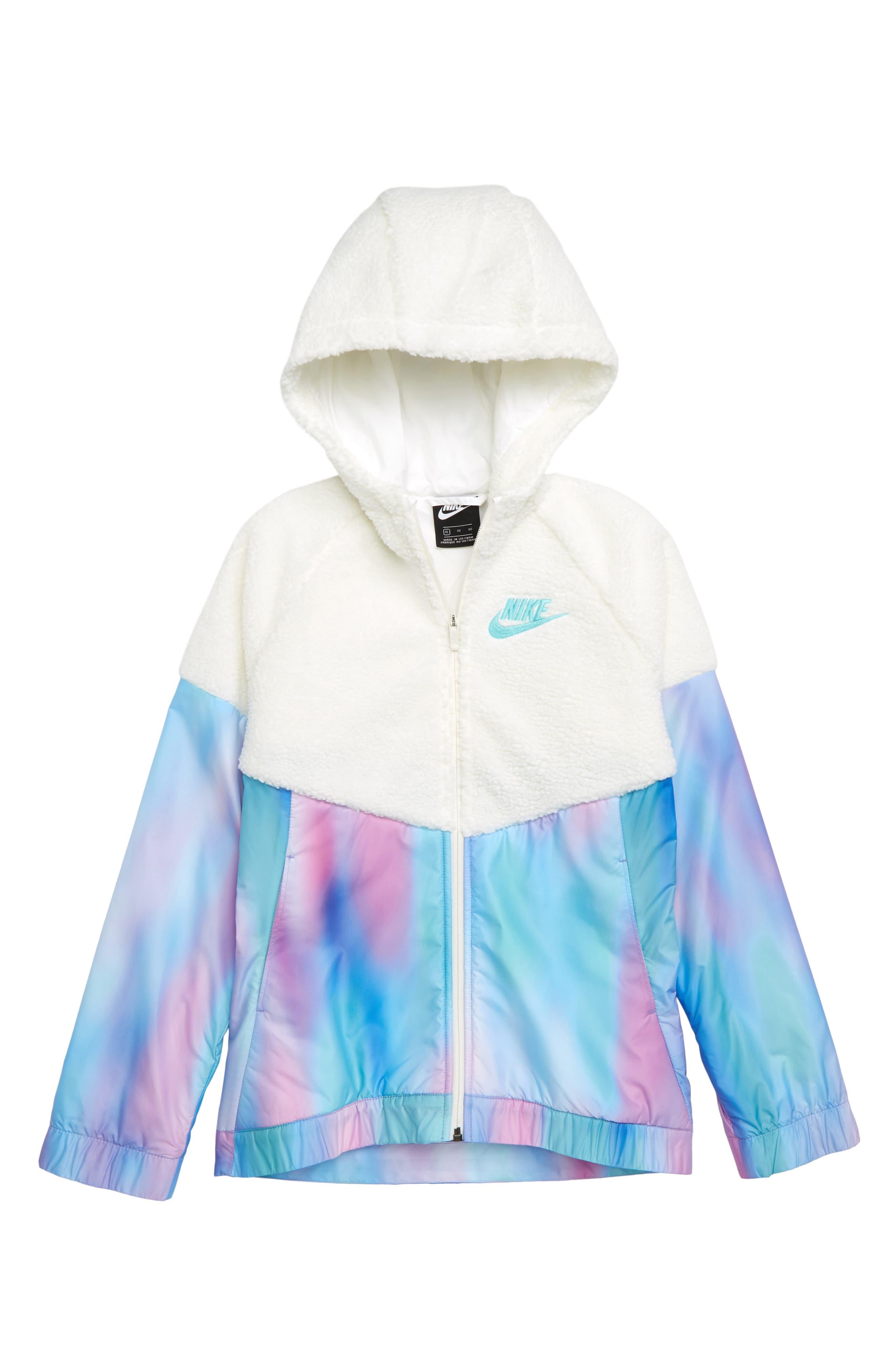 Windrunner Hooded Jacket,                         Main,                         color, WHITE/ LIGHT AQUA