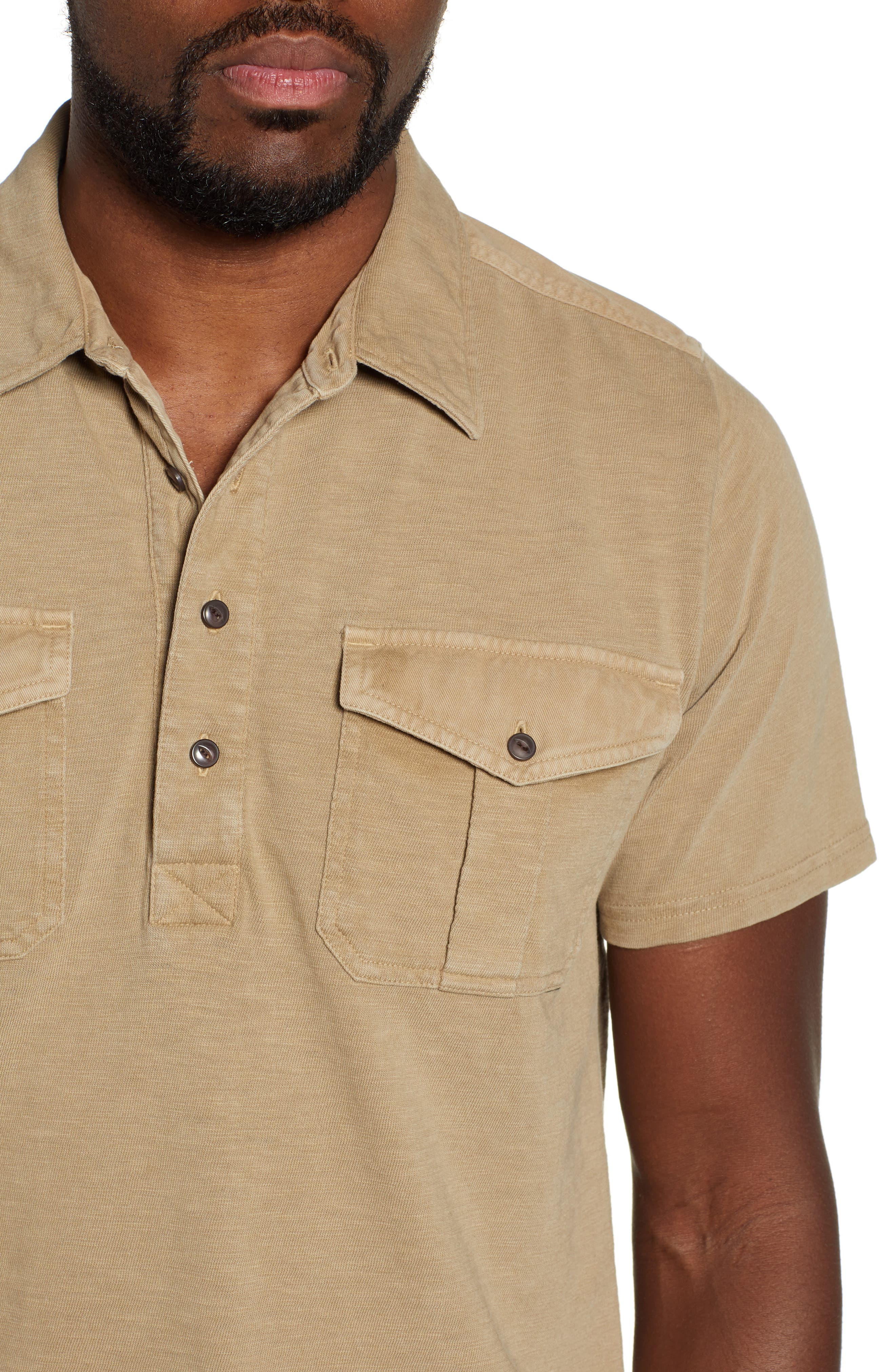 Two-Pocket Military Polo,                             Alternate thumbnail 4, color,                             BEIGE