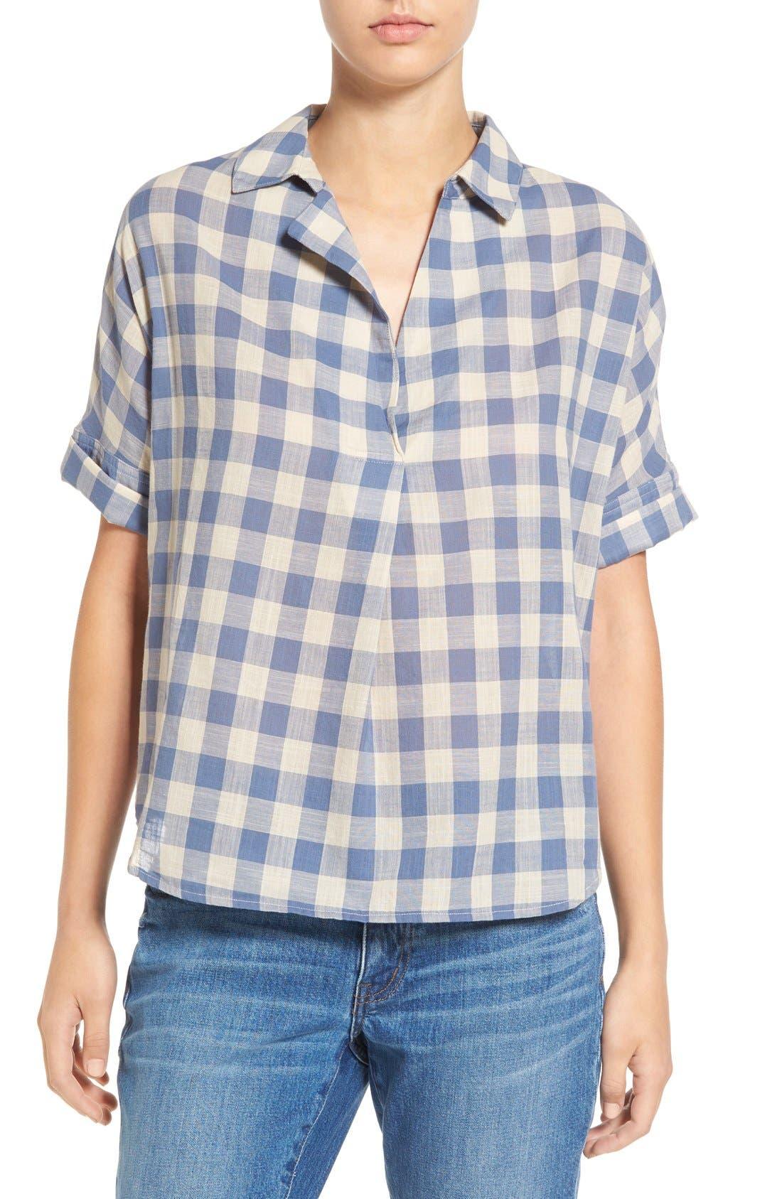 'Courier' Back Button Shirt, Main, color, 408