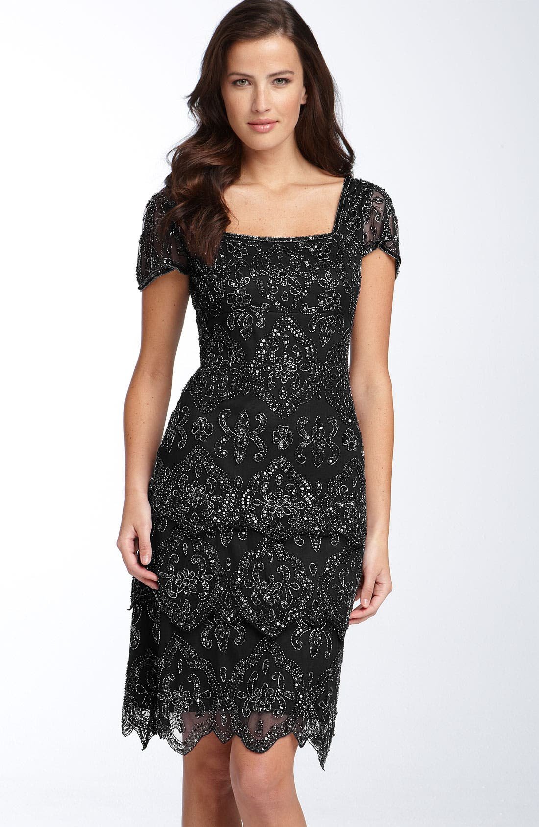 Beaded Tiered Shift Dress, Main, color, 001