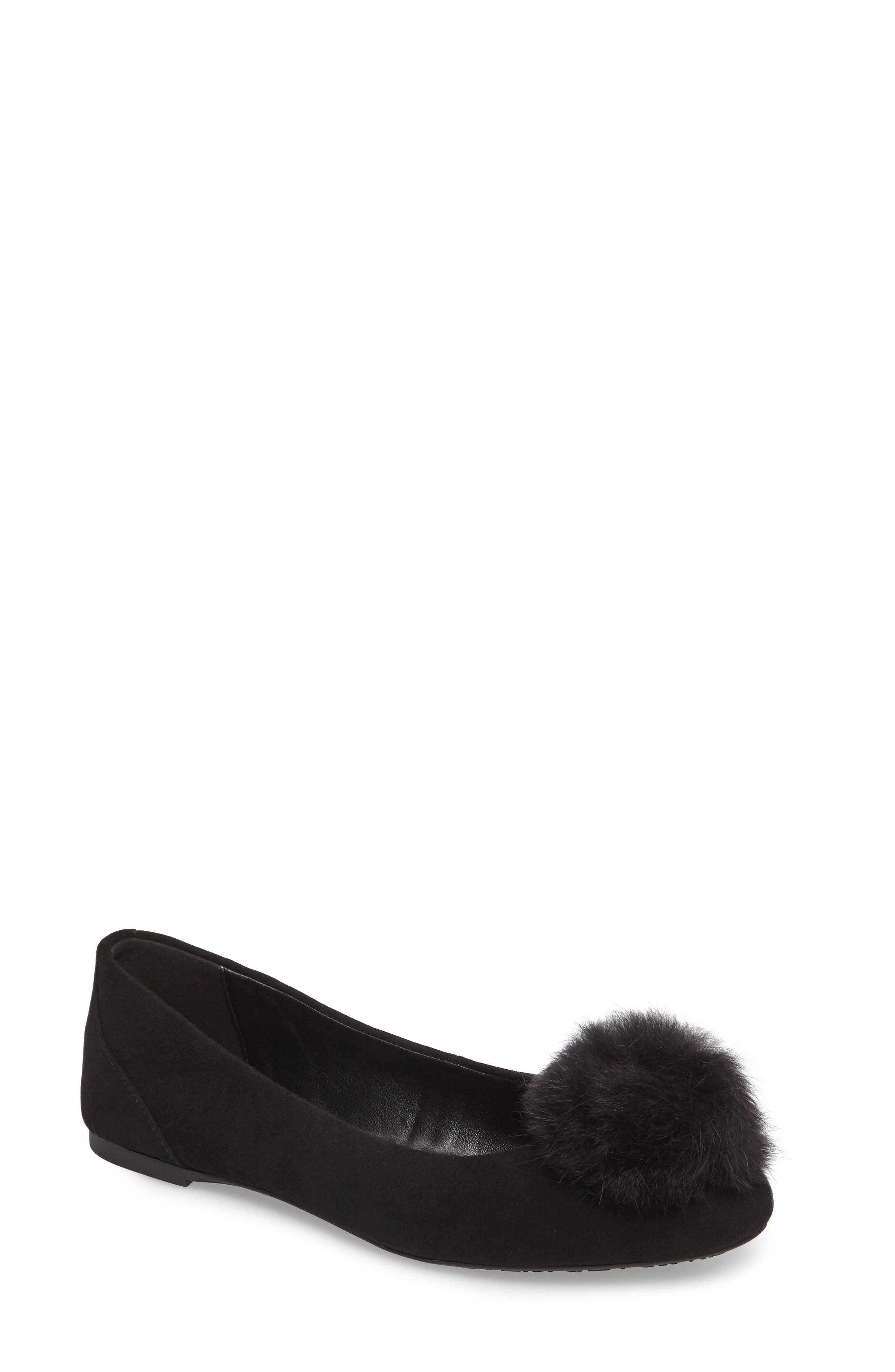Remi Ballet Flat with Genuine Rabbit Fur Pom,                         Main,                         color, 001