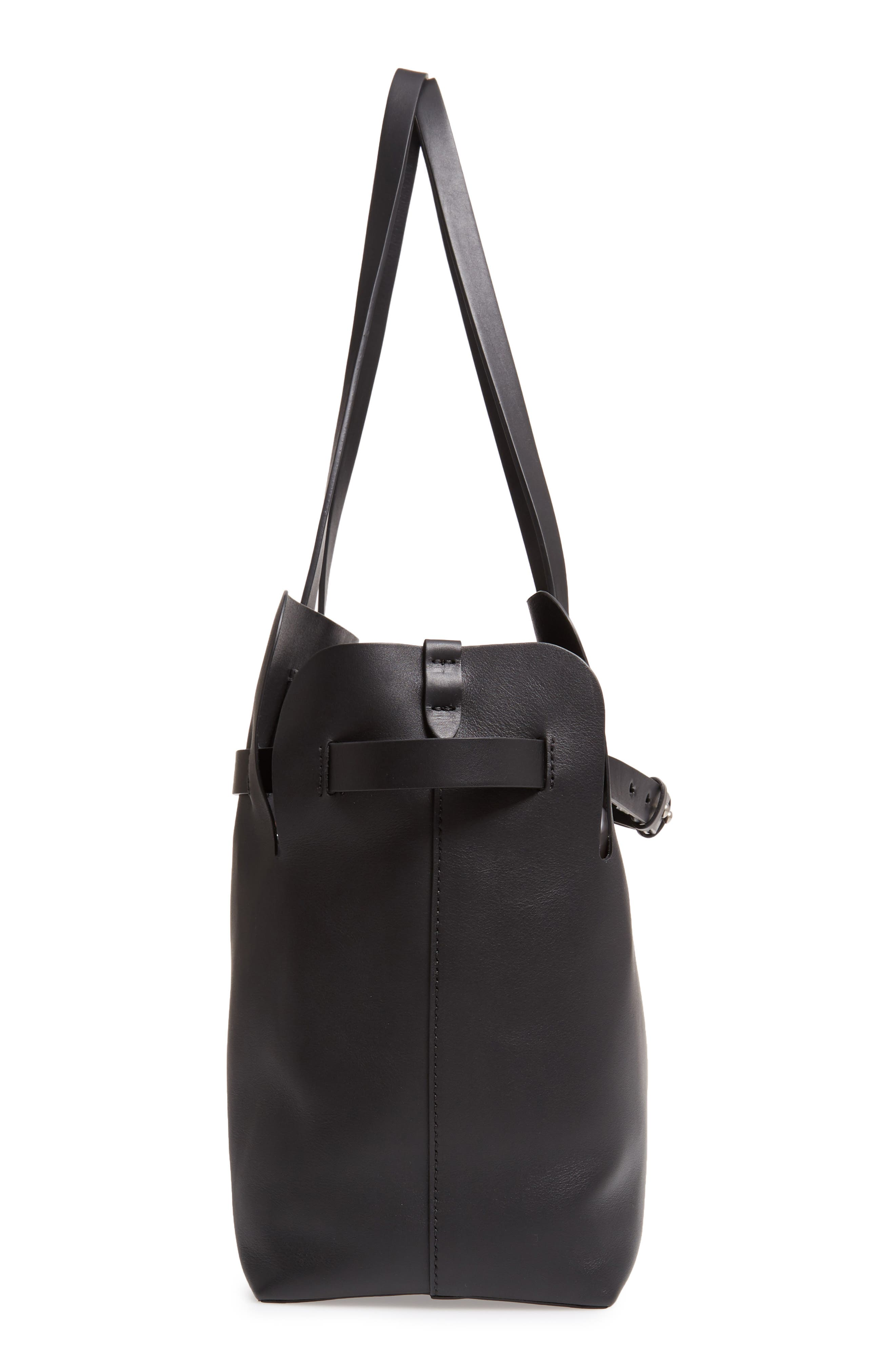 Medium Belt Bag Leather Tote,                             Alternate thumbnail 5, color,                             BLACK