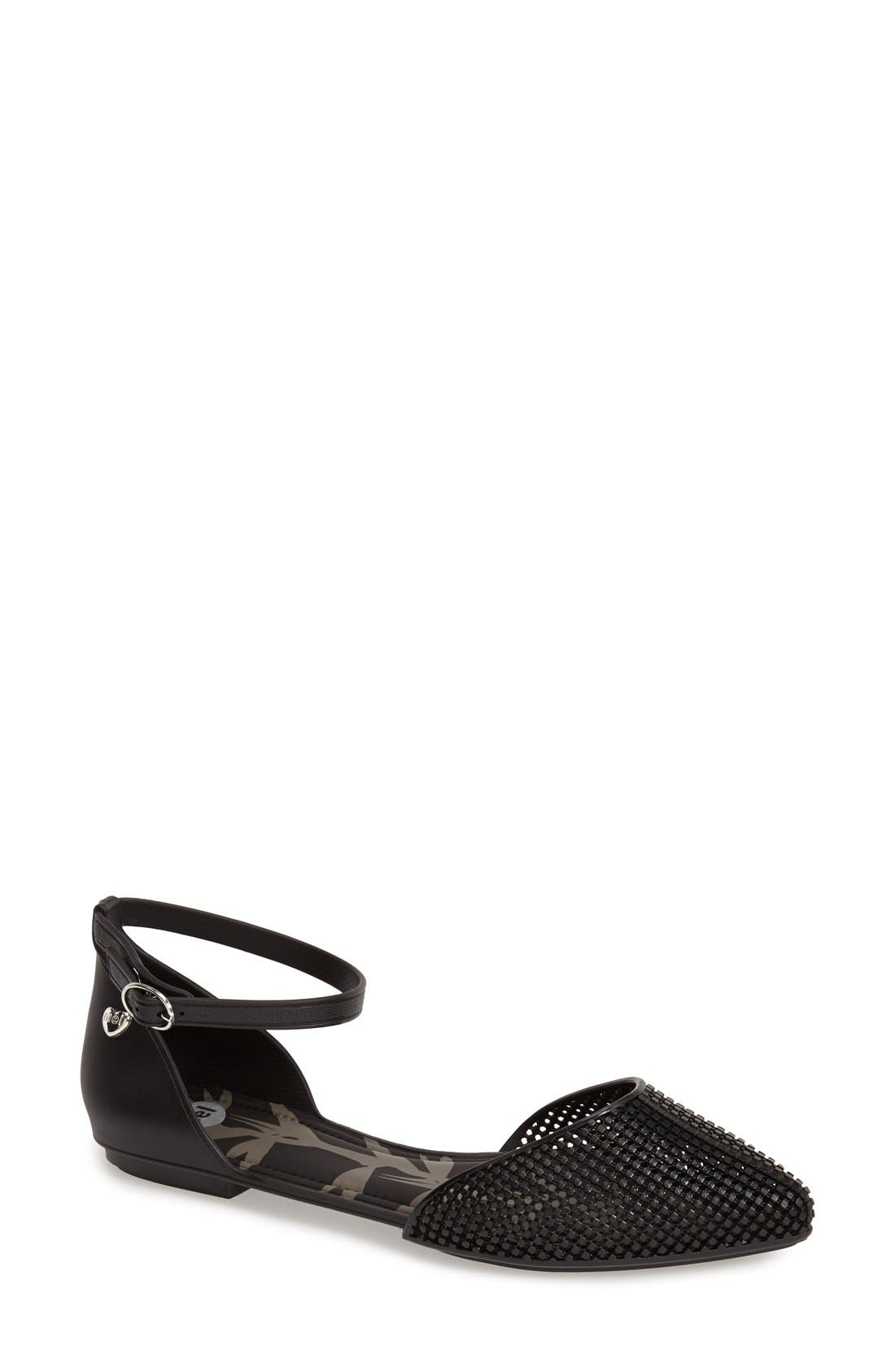 MEL BY MELISSA,                             'Pitanga' Ankle Strap Flat,                             Main thumbnail 1, color,                             001