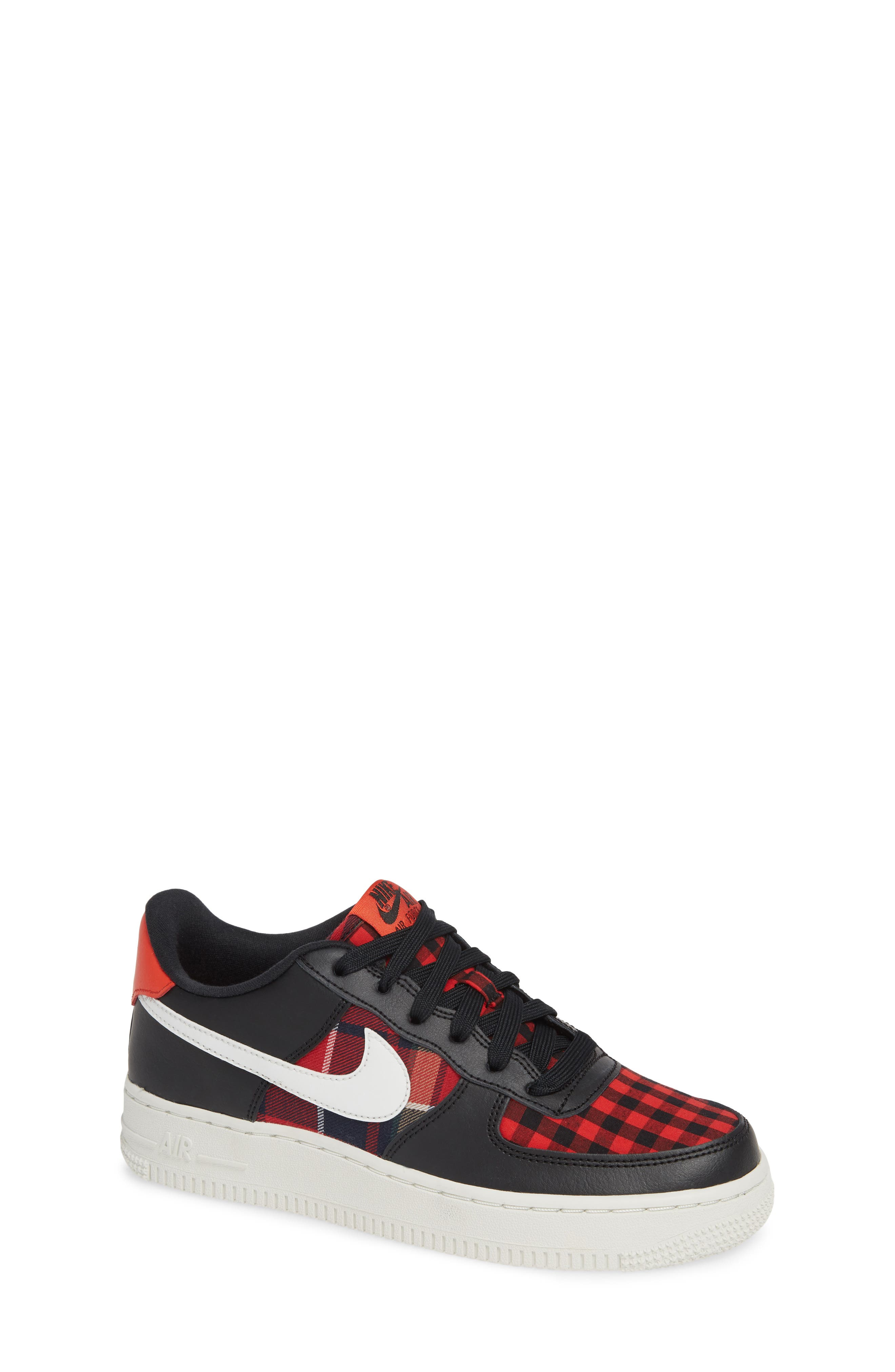 Air Force 1 LV8 Sneaker,                             Main thumbnail 1, color,                             BLACK/ SUMMIT RED