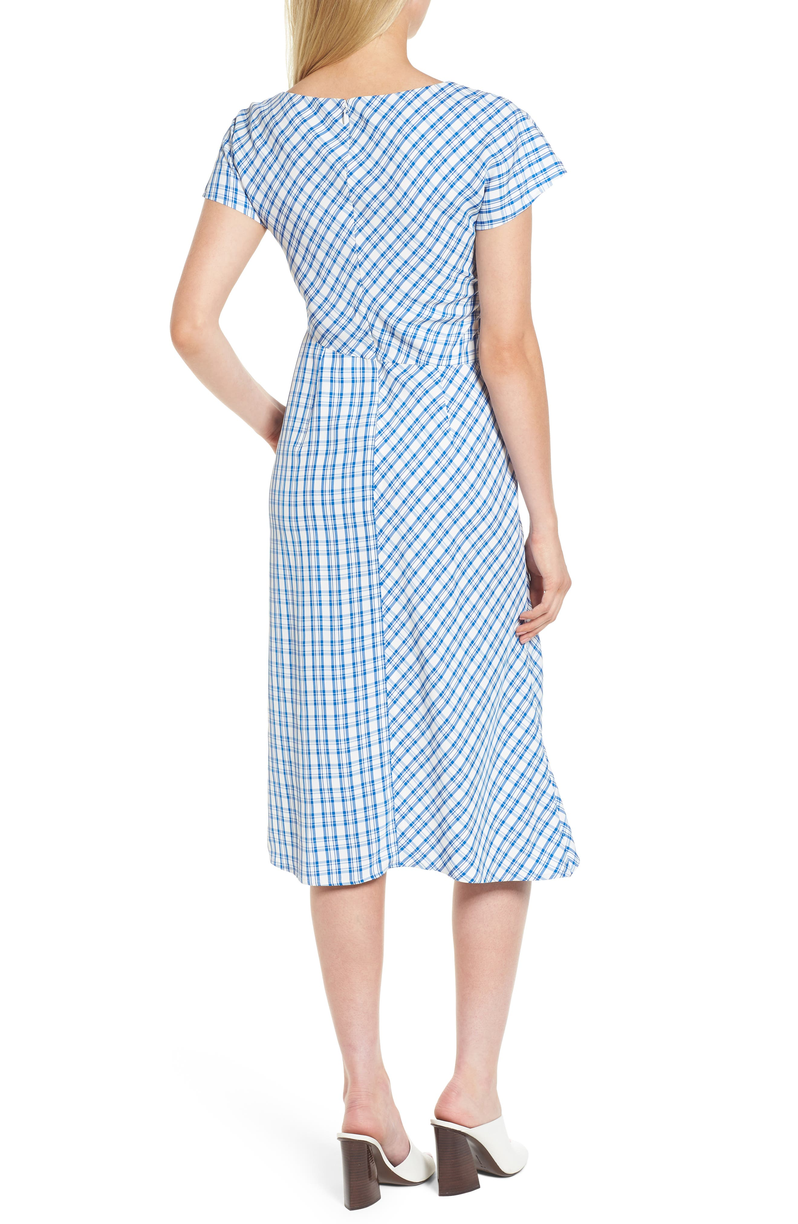 Ruched Check Midi Dress,                             Alternate thumbnail 2, color,                             420