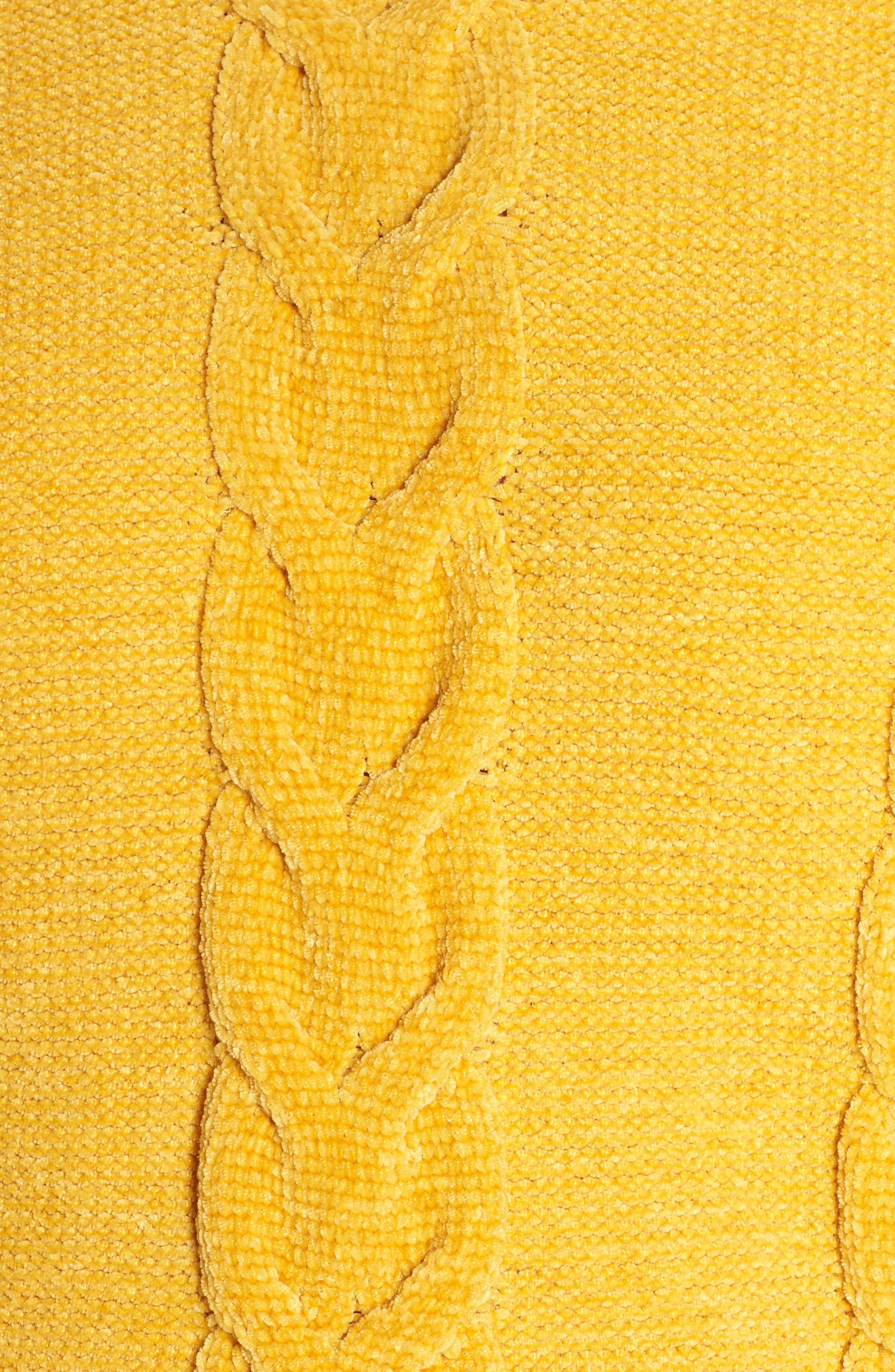 Cable Knit Chenille Sweater,                             Alternate thumbnail 5, color,                             YELLOW MINERAL