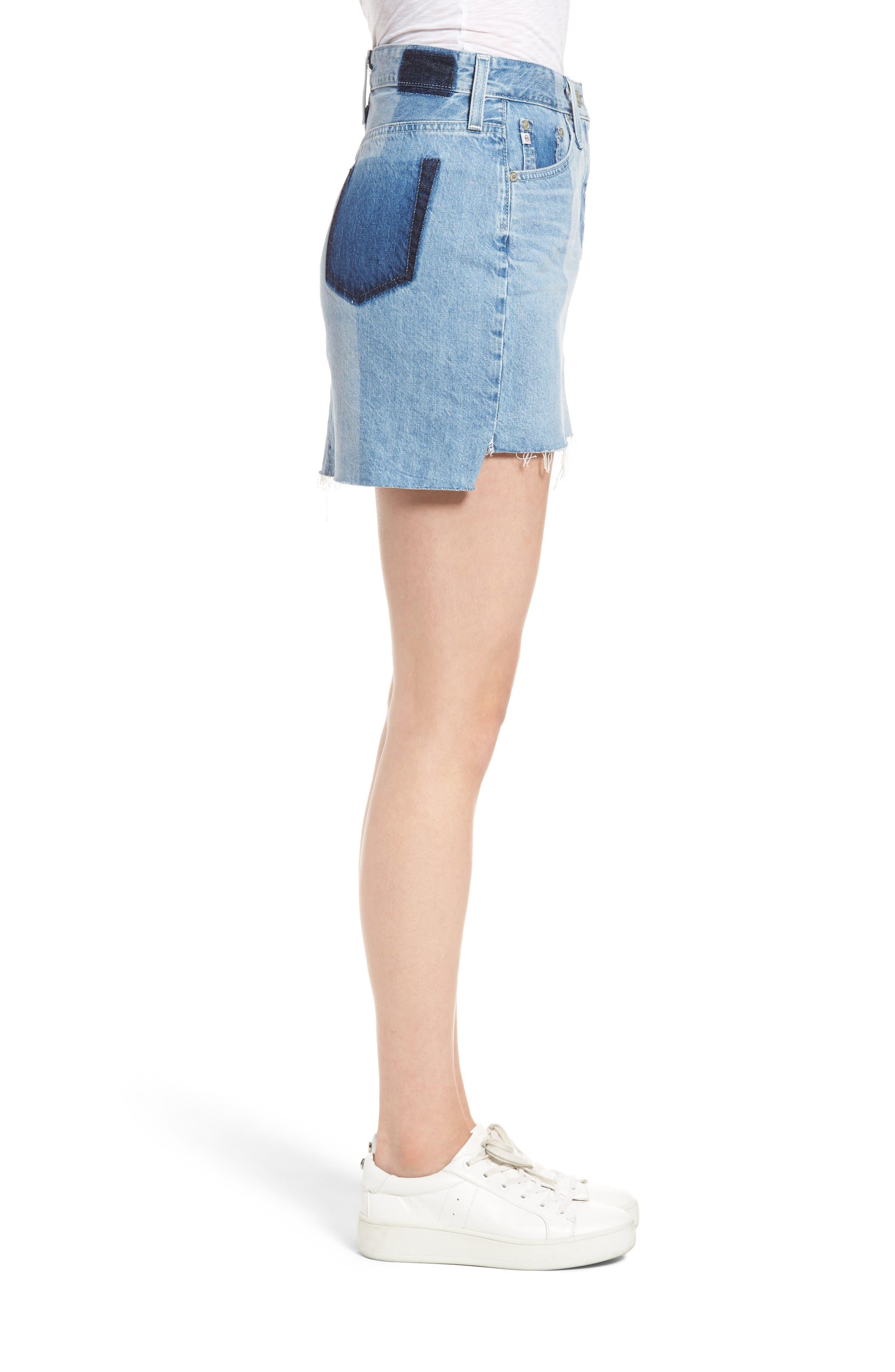 Sandy Raw Edge Denim Miniskirt,                             Alternate thumbnail 3, color,                             466