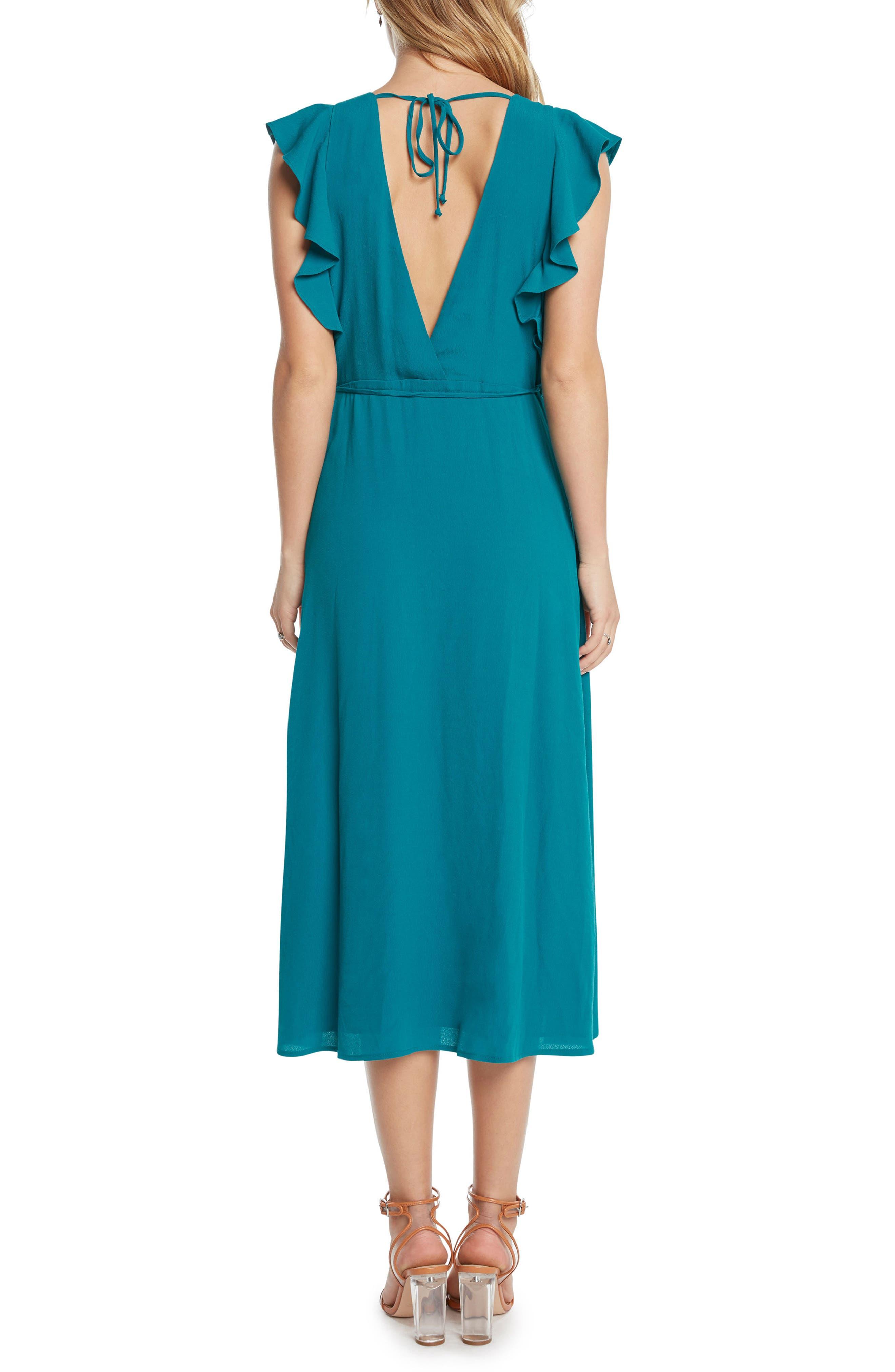 Solid Wrap Midi Dress,                             Alternate thumbnail 4, color,