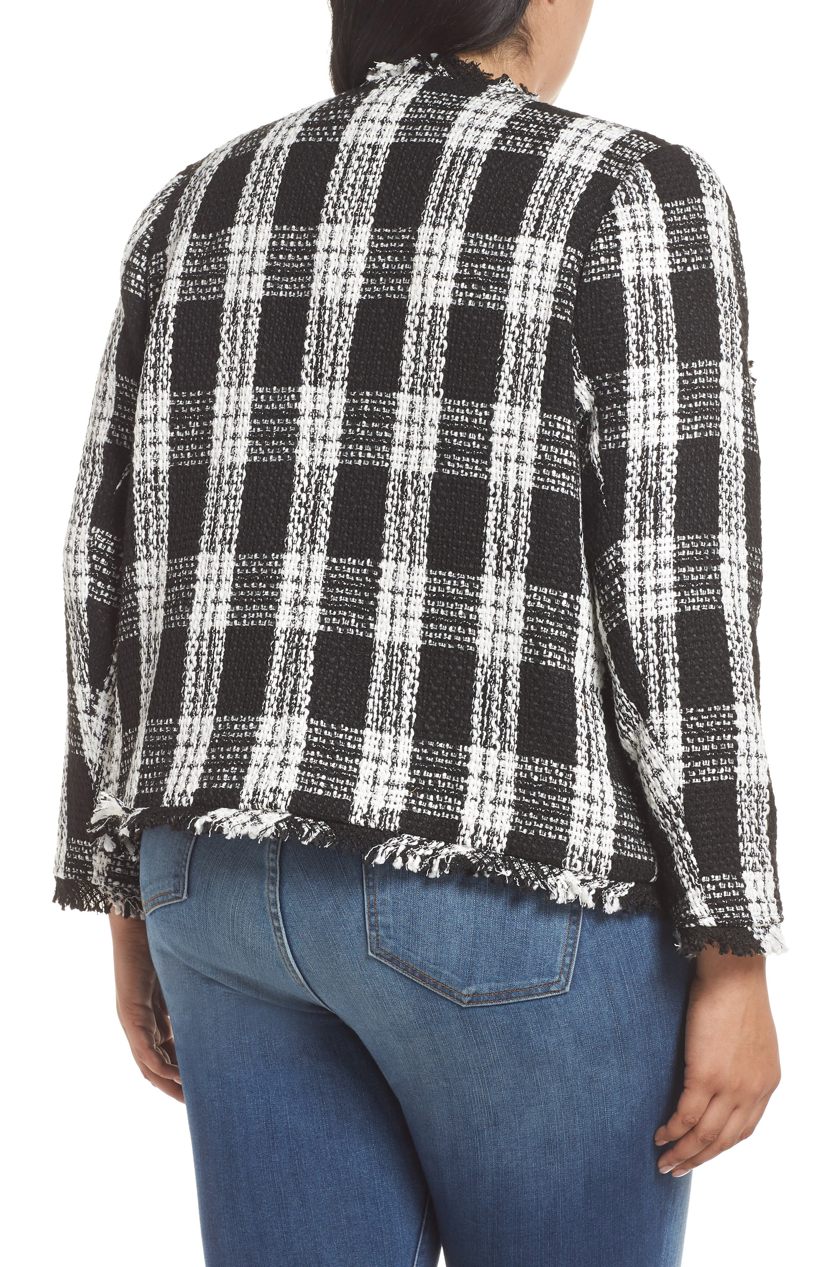 Raw Edge Plaid Tweed Jacket,                             Alternate thumbnail 2, color,                             001