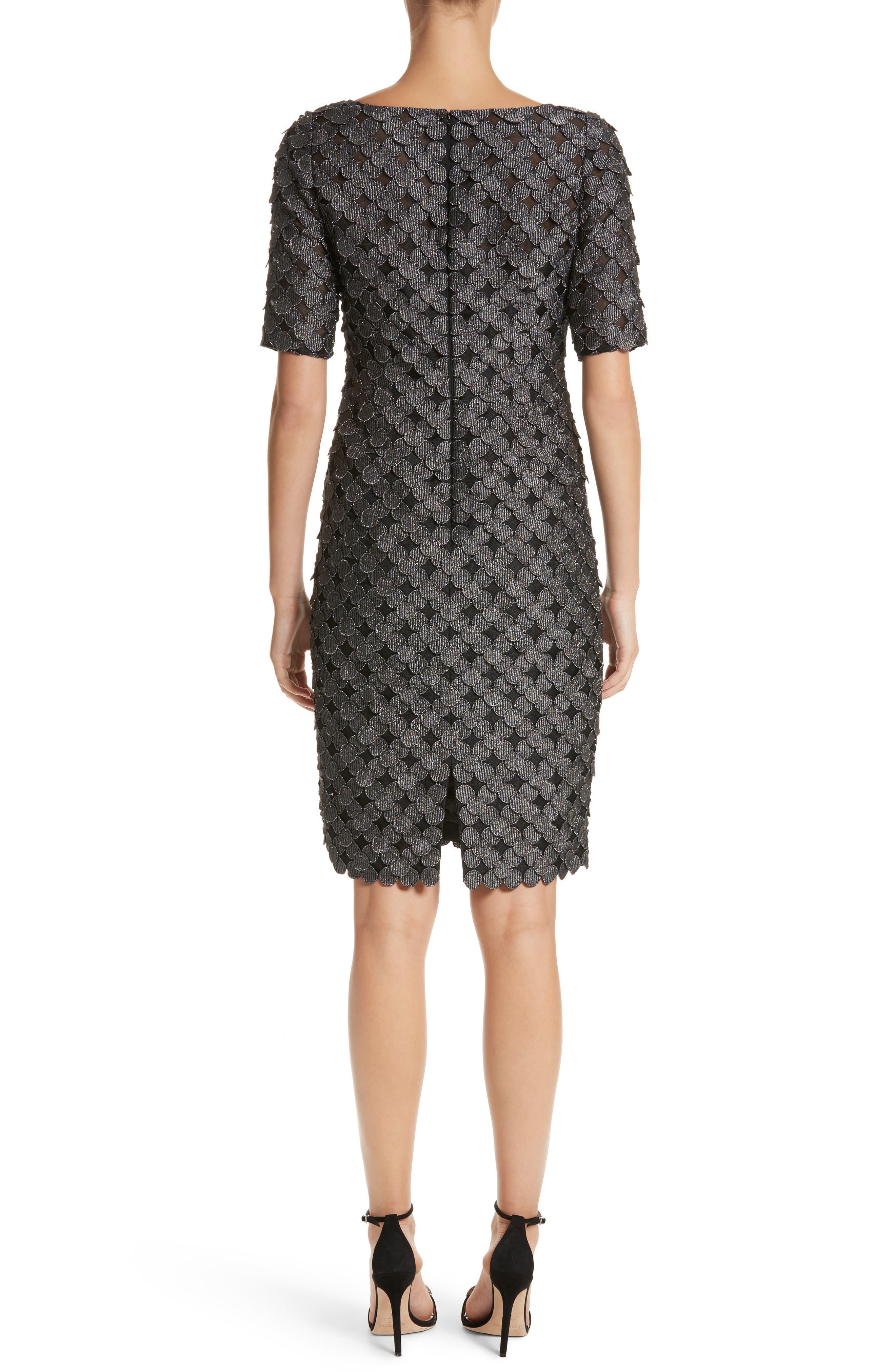 Carmen Marc Valvo Dot Appliqué Sheath Dress,                             Alternate thumbnail 2, color,                             030