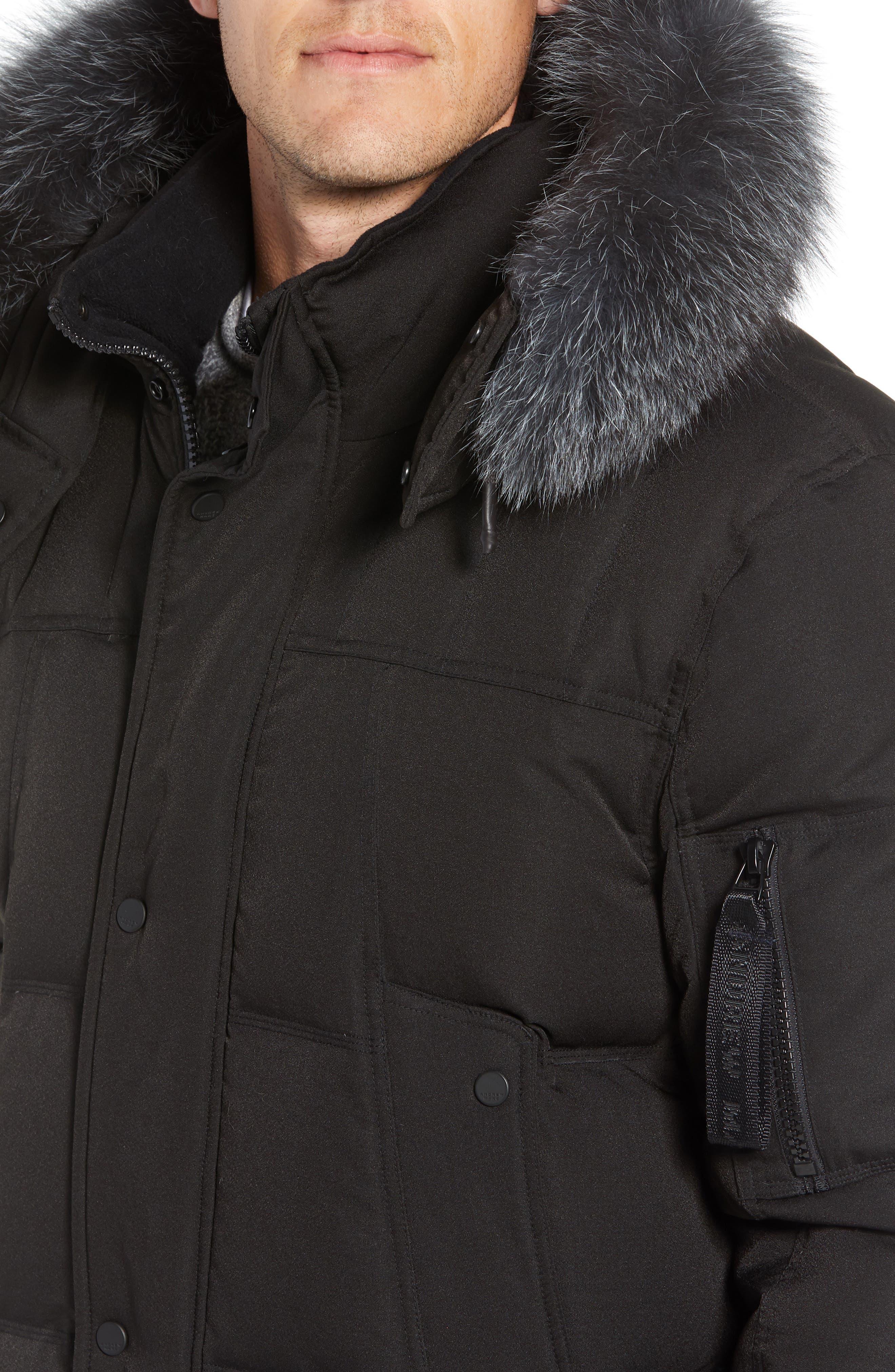 Bennett Genuine Fox Fur Trim Down Bomber Jacket,                             Alternate thumbnail 5, color,                             BLACK
