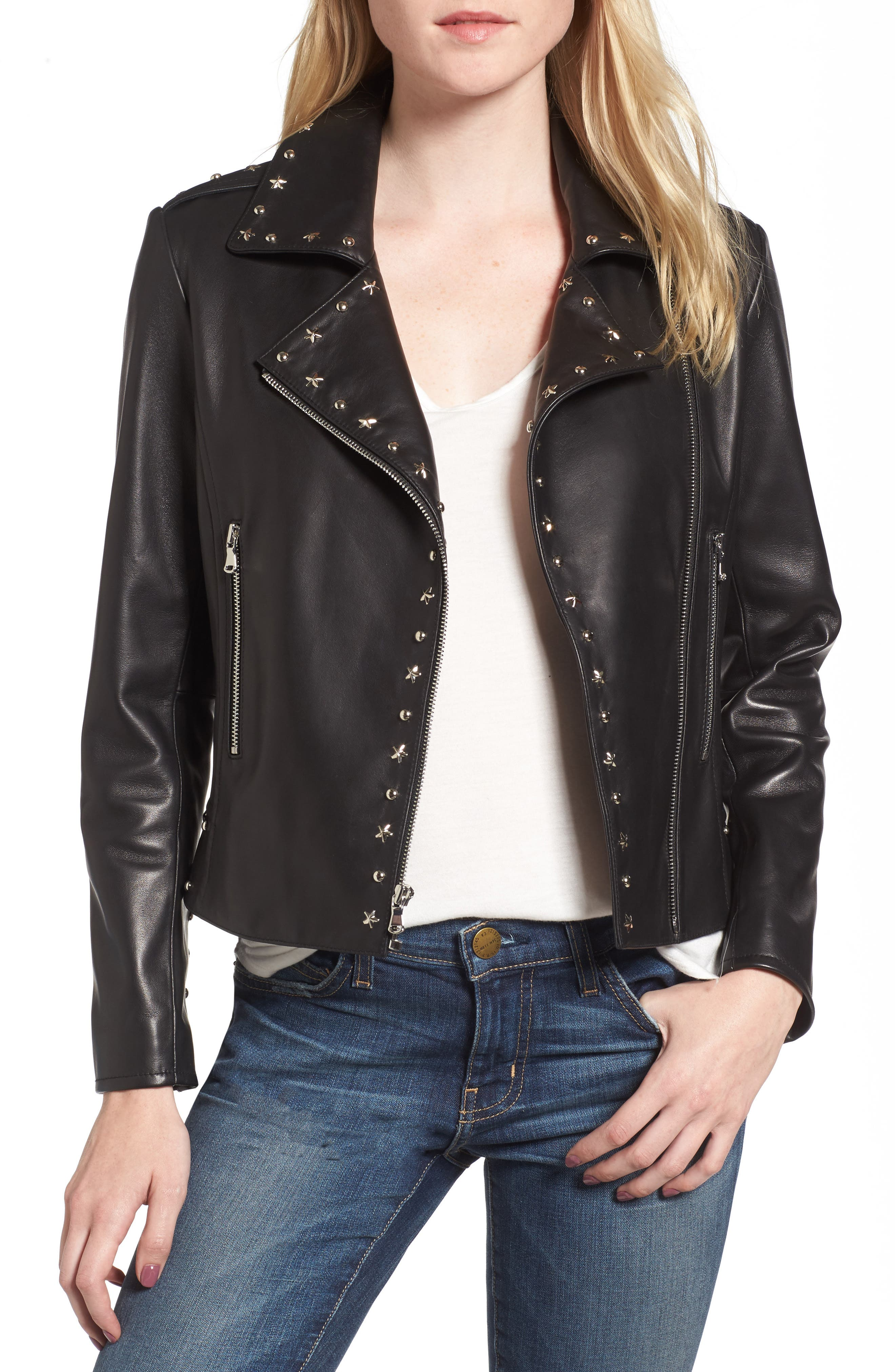 Easton Studded Leather Moto Jacket,                             Main thumbnail 1, color,                             BLACK