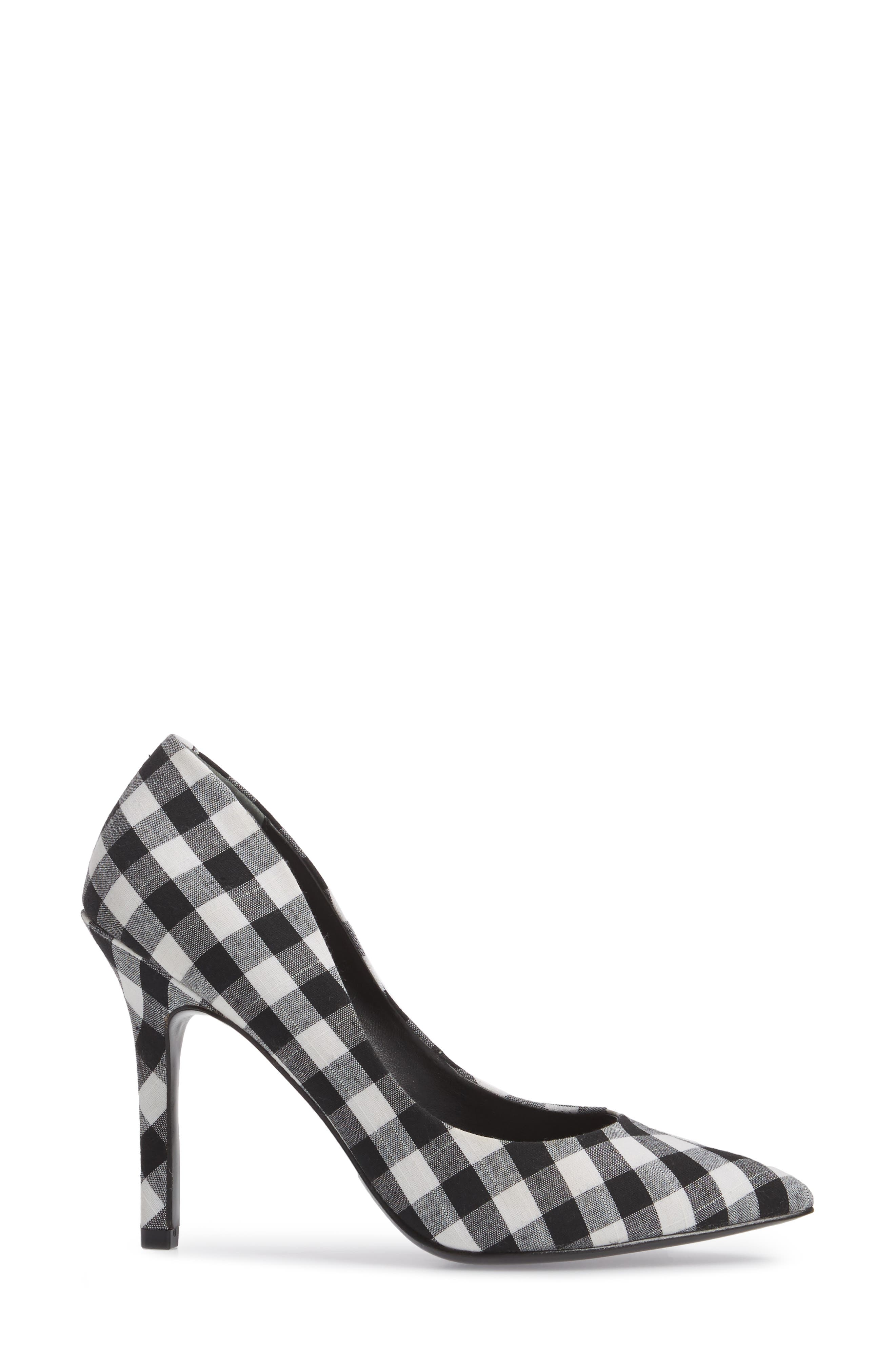 Maxx Pointy Toe Pump,                             Alternate thumbnail 3, color,                             BLACK/ WHITE GINGHAM FABRIC