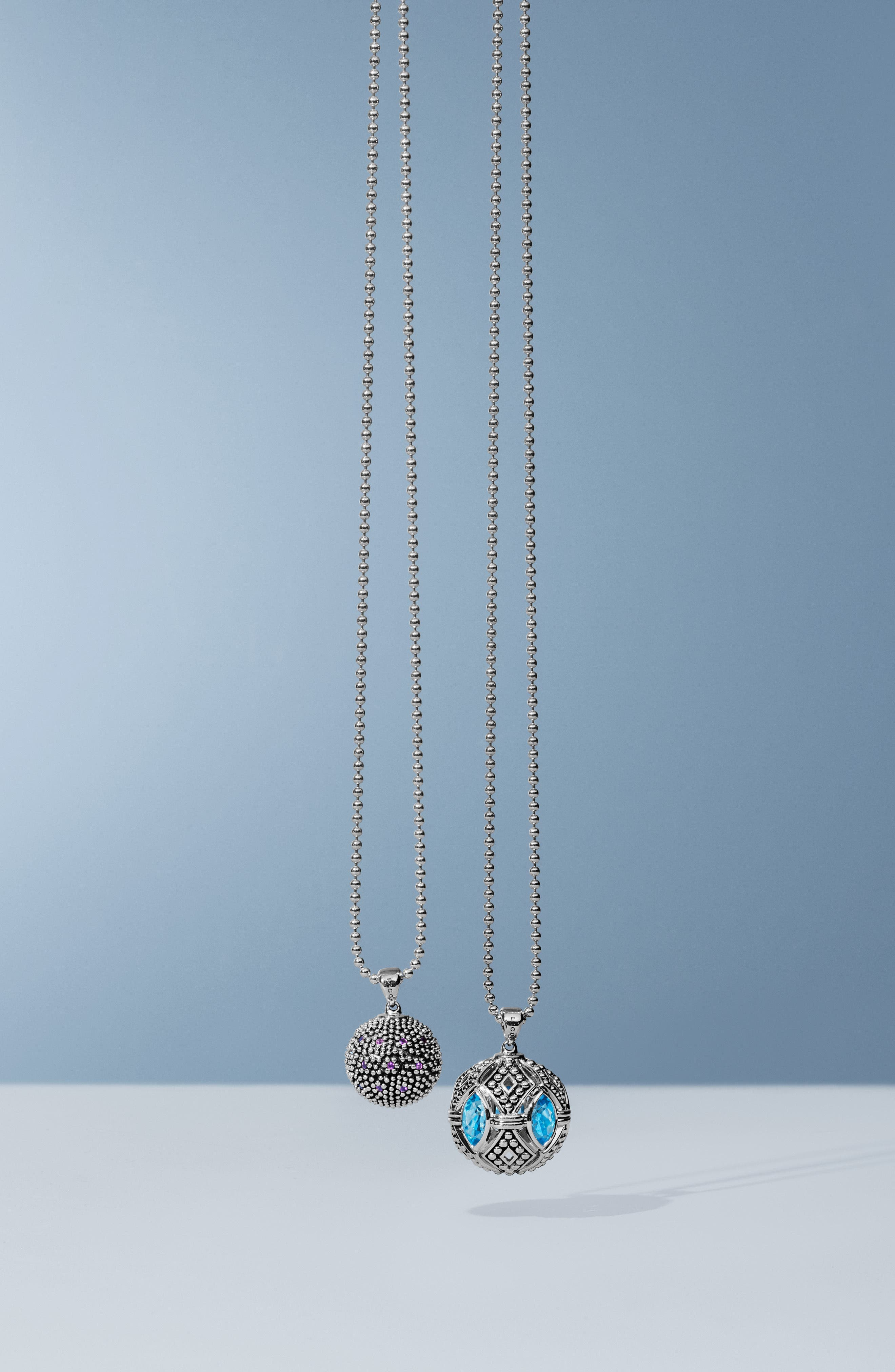 Signature Gifts Marquee Ball Pendant Necklace,                             Alternate thumbnail 6, color,                             SILVER/ BLUE TOPAZ