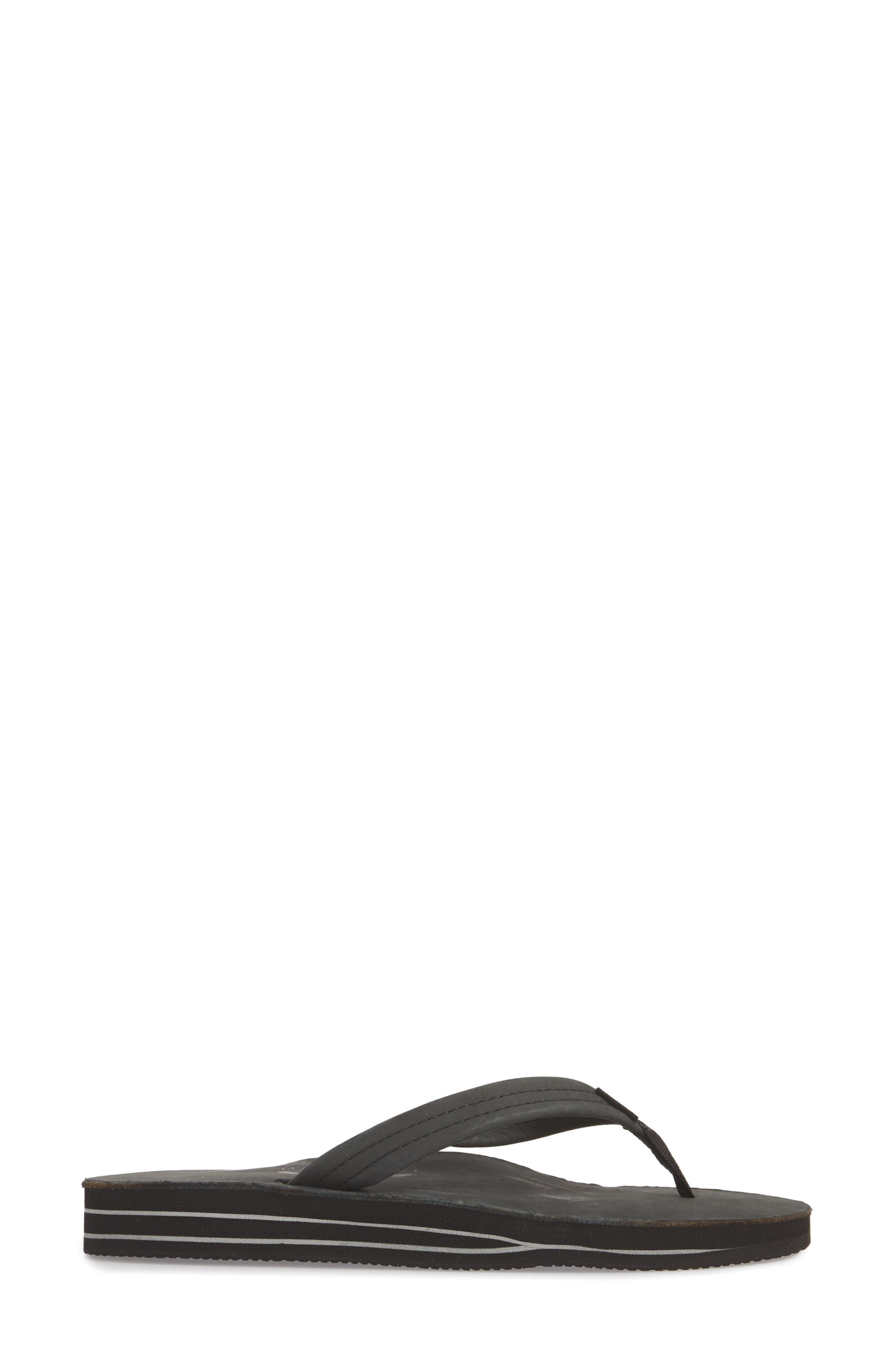 RAINBOW<SUP>®</SUP>,                             Rainbow Double Layer Leather Flip Flop,                             Alternate thumbnail 3, color,                             001