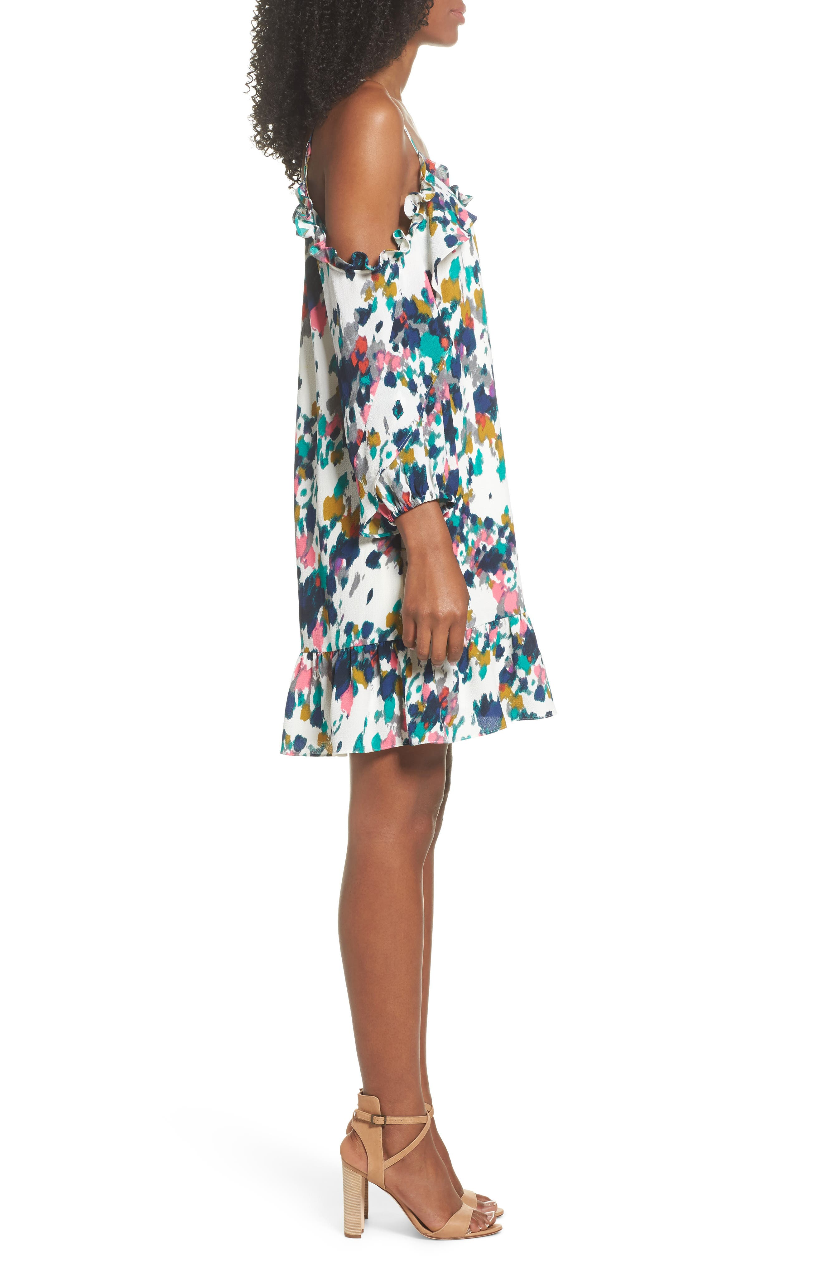 Clove and Sloane Fly Away Ruffle Cold Shoulder Dress,                             Alternate thumbnail 3, color,                             440