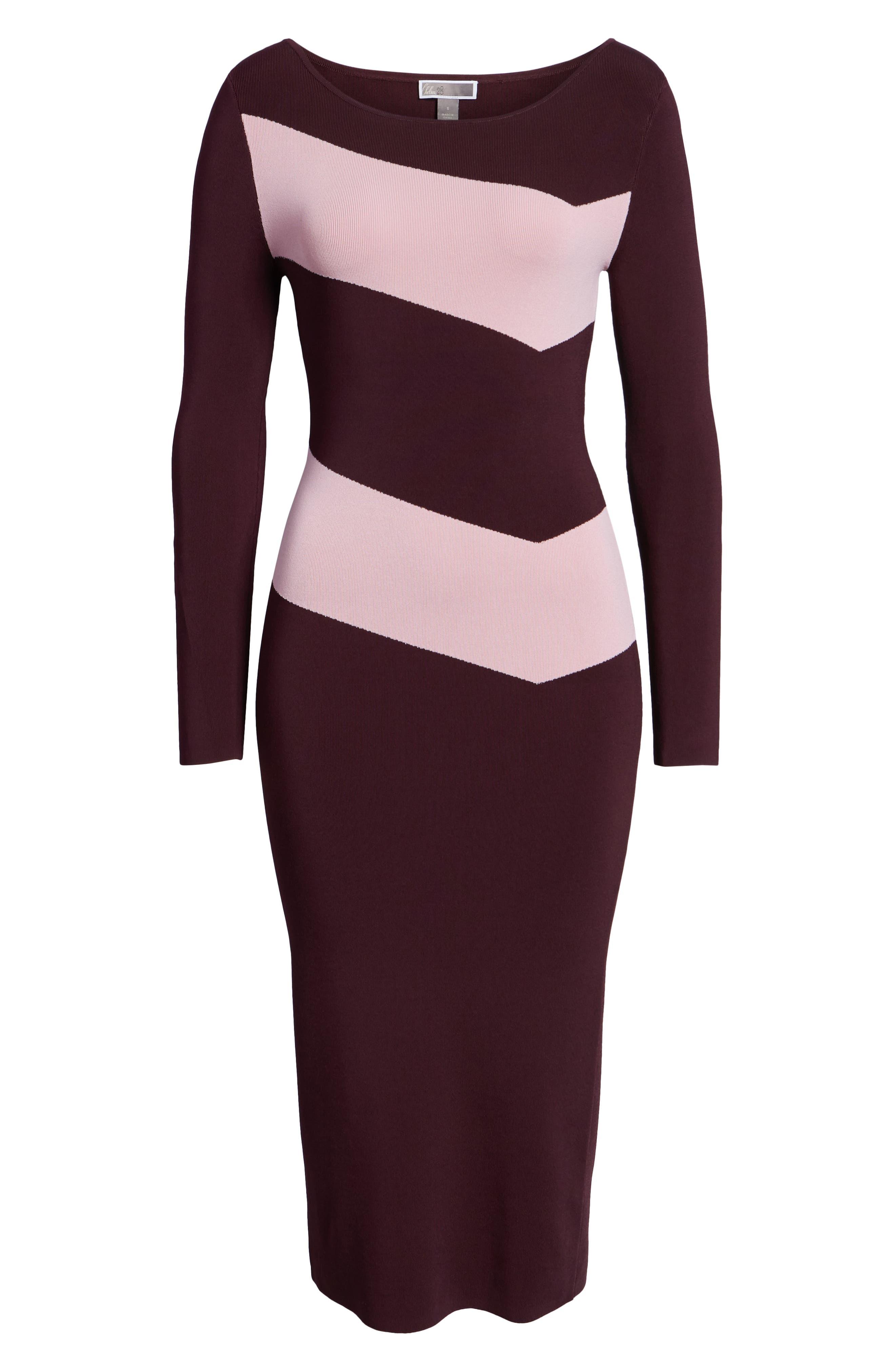 Bold Stripe Body-Con Dress,                             Alternate thumbnail 7, color,                             BURGUNDY STEM COMBO