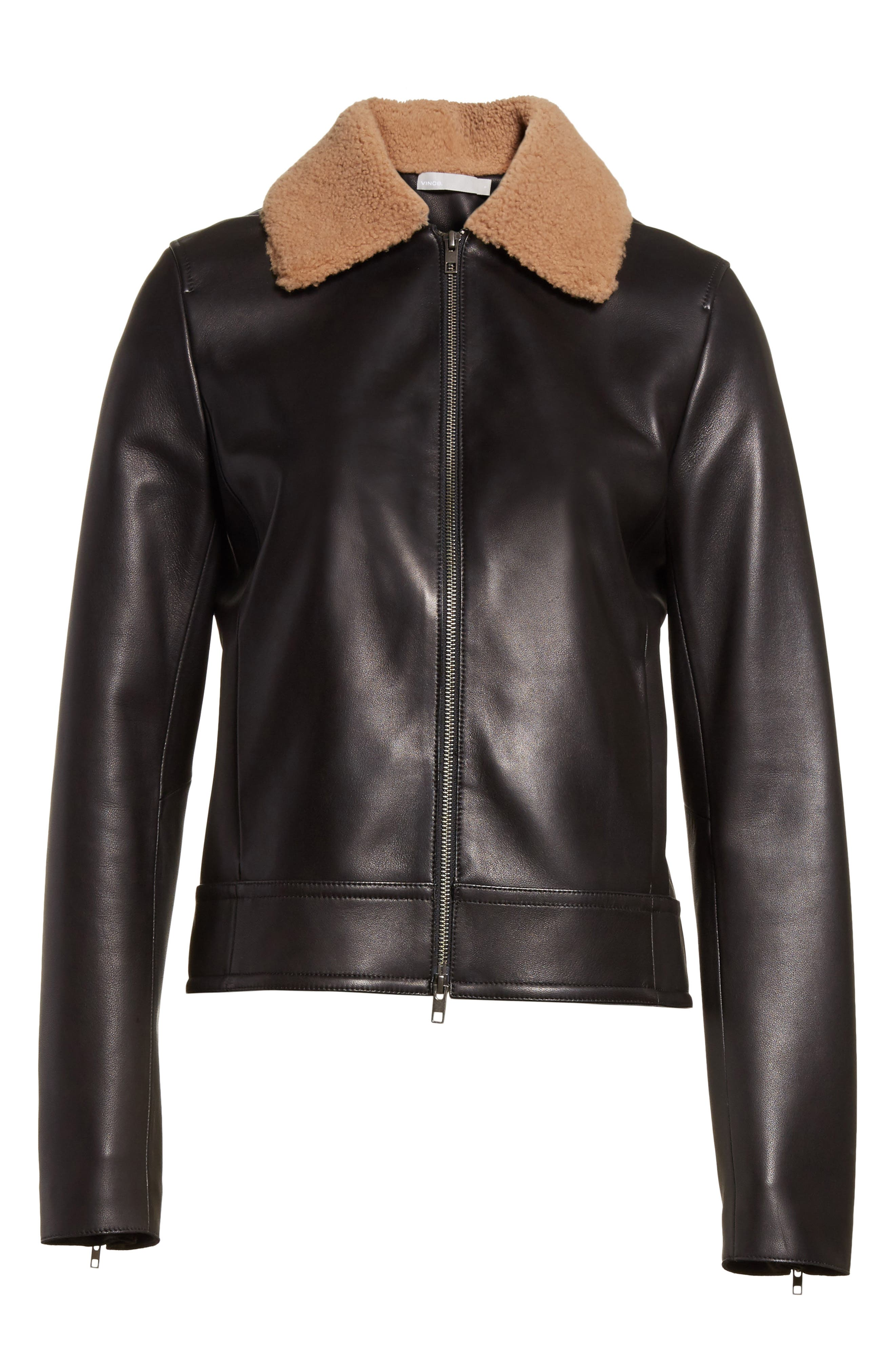 Leather Jacket with Genuine Shearling Trim,                             Alternate thumbnail 5, color,                             001