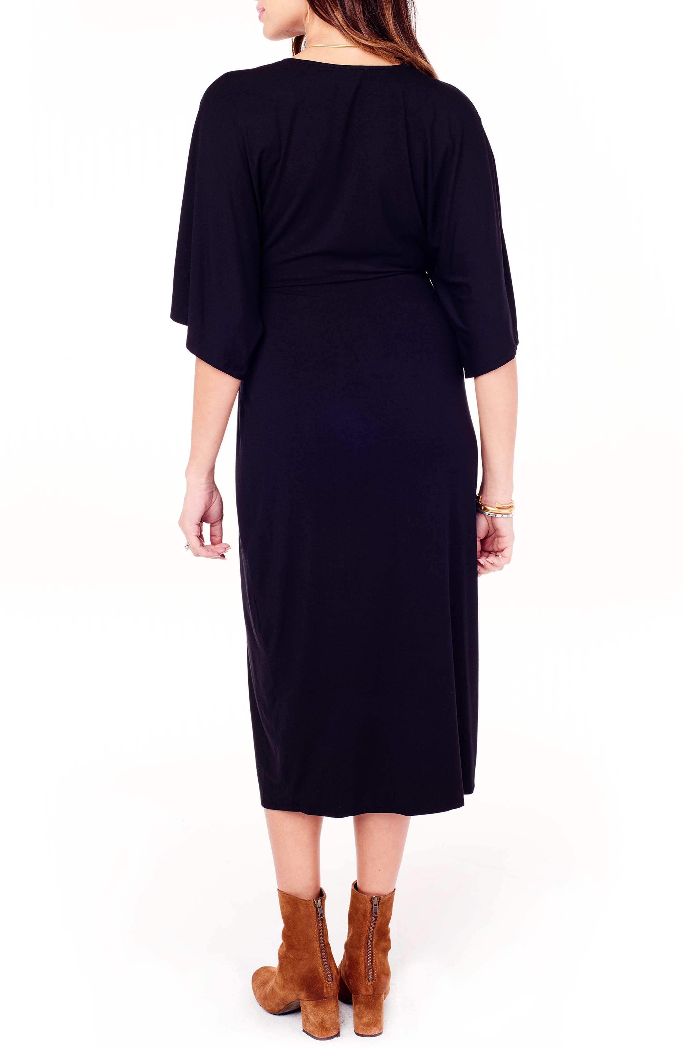 Dolman Sleeve Maternity Dress,                             Alternate thumbnail 2, color,                             JET BLACK