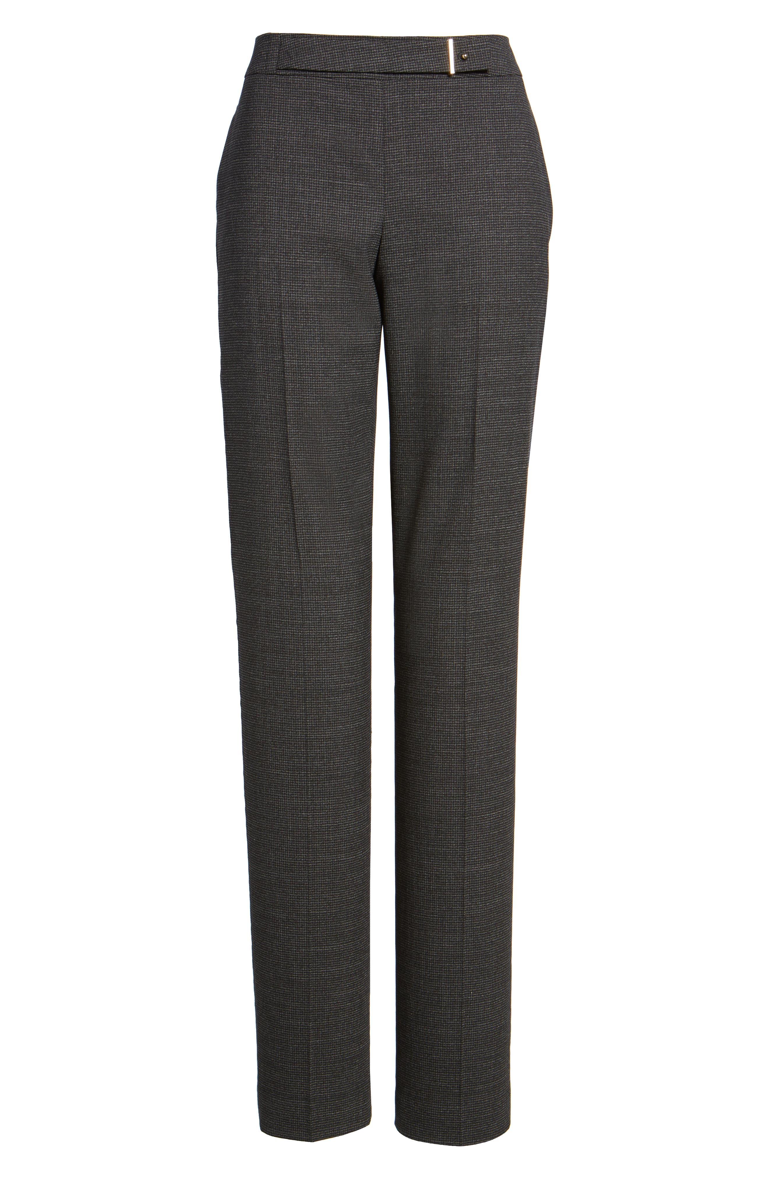 Tafena Check Stretch Wool Pants,                             Alternate thumbnail 6, color,                             006